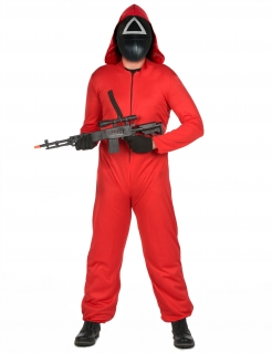 Killerwächter-Kostümset mit Kunststoffmaske für Erwachsene koreanische Horrorserie rot-schwarz-weiß