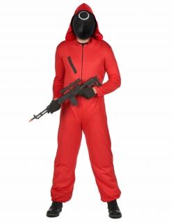 Tödlicher Wächter Horrorserien-Kostüm mit Kunststoff-Maske für Erwachsene rot-schwarz-weiss
