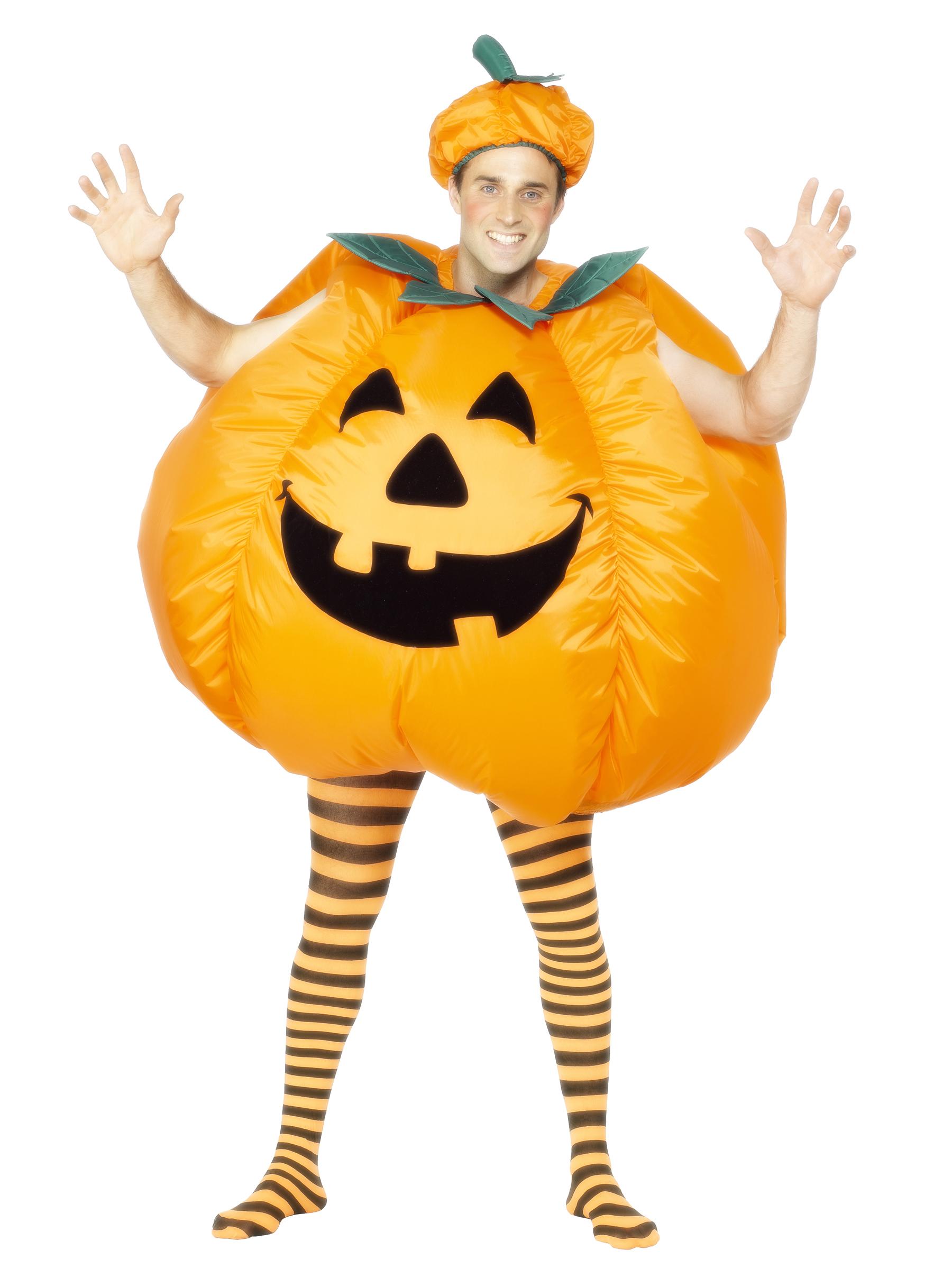 aufblasbarer k rbis halloween kost m orange gr n g nstige faschings kost me bei karneval megastore. Black Bedroom Furniture Sets. Home Design Ideas