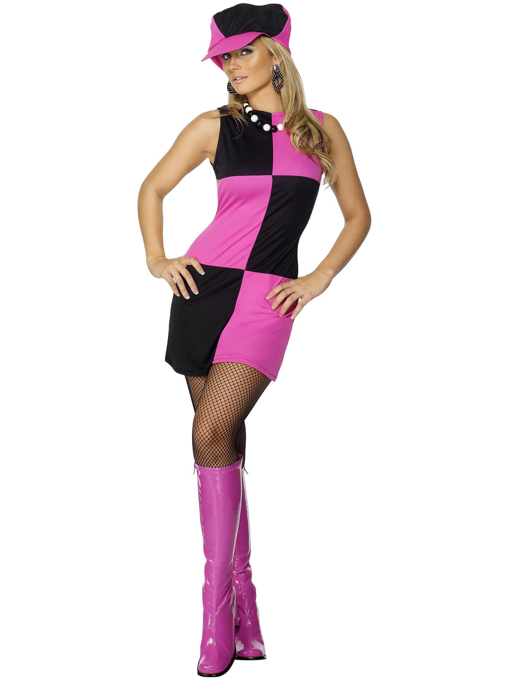 60er jahre disco kost m damen schwarz pink g nstige faschings kost me bei karneval megastore. Black Bedroom Furniture Sets. Home Design Ideas
