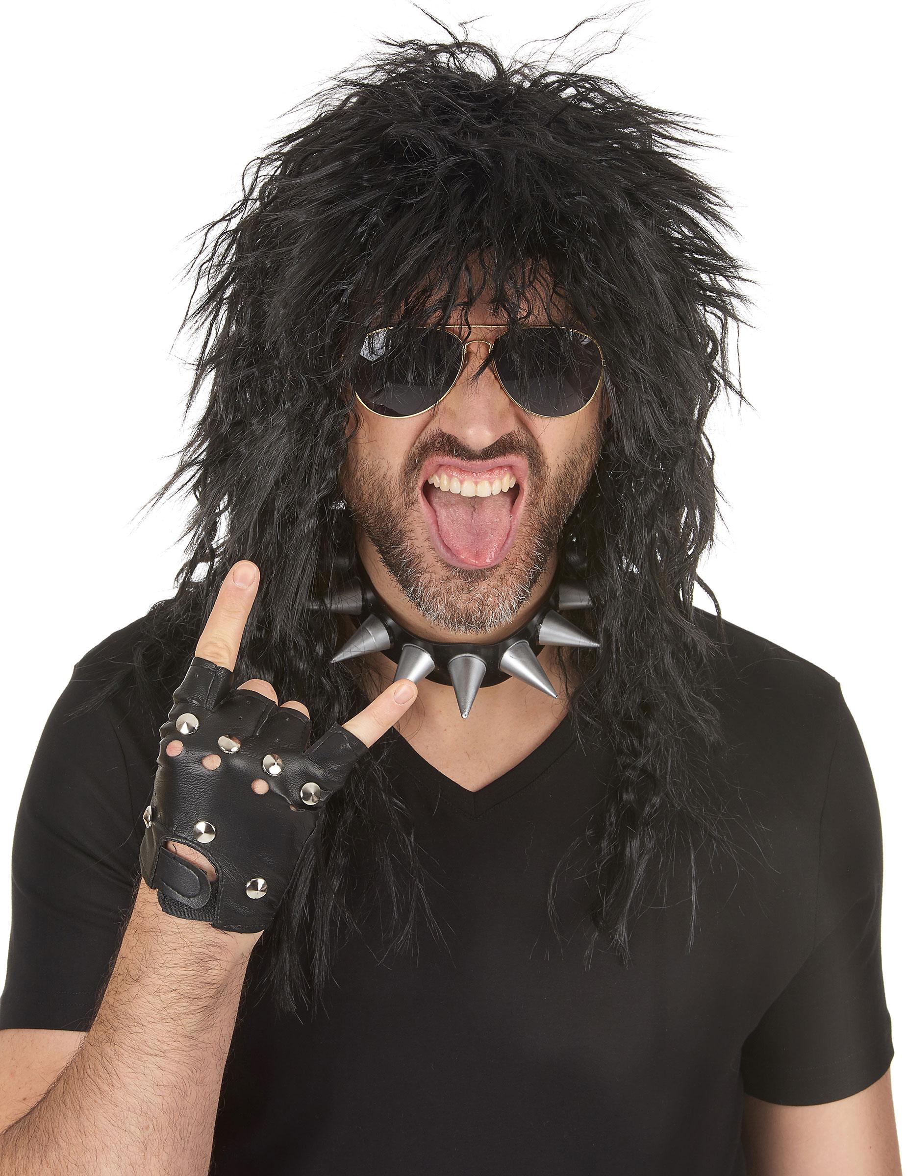 80er Rocker Perucke Schwarz Gunstige Faschings Accessoires