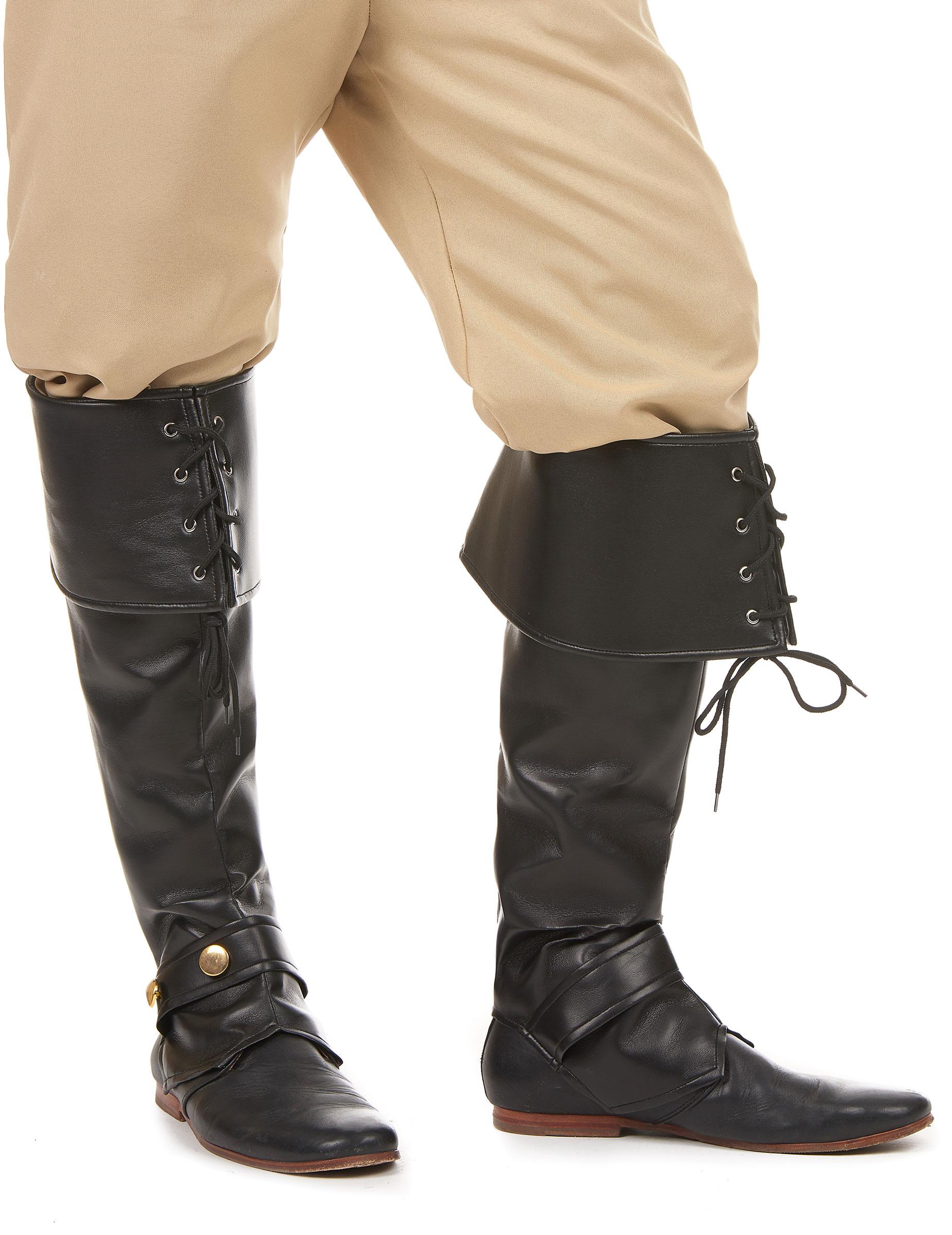 Piraten Stiefelstulpen Deluxe schwarz