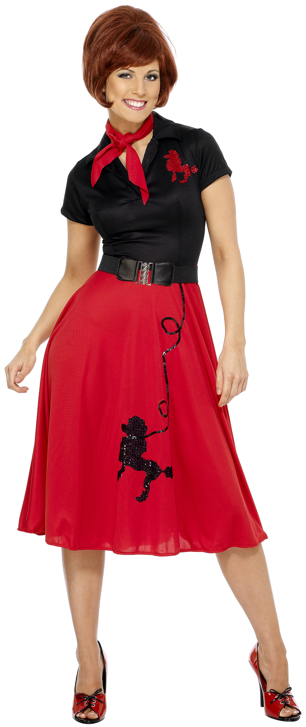 c776167ab79d 50er Jahre Kleid Rock n Roll Kostüm rot-schwarz , günstige Faschings  Kostüme bei Karneval Megastore