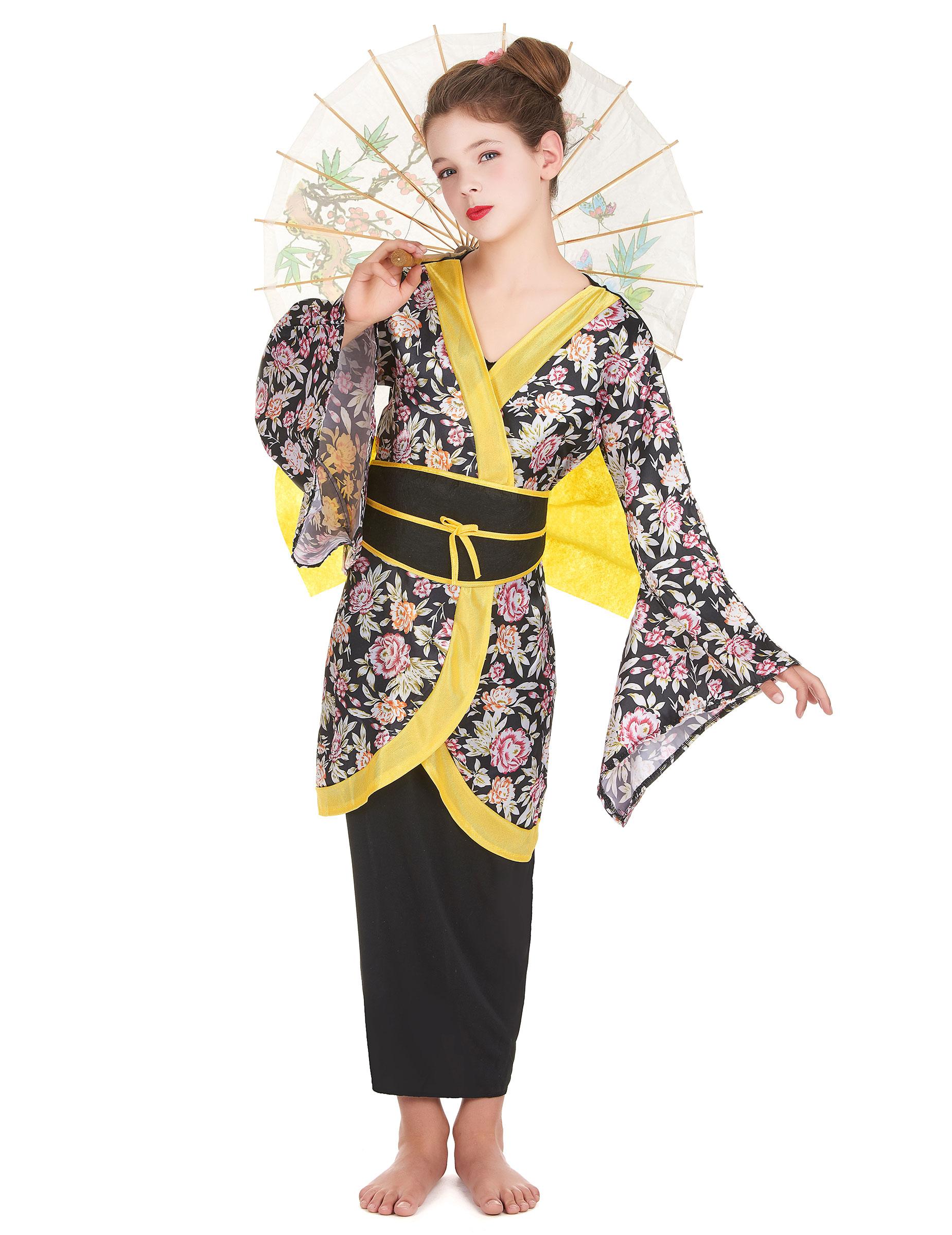 japanerin m dchenkost m geisha kost m schwarz gelb bunt g nstige faschings kost me bei. Black Bedroom Furniture Sets. Home Design Ideas