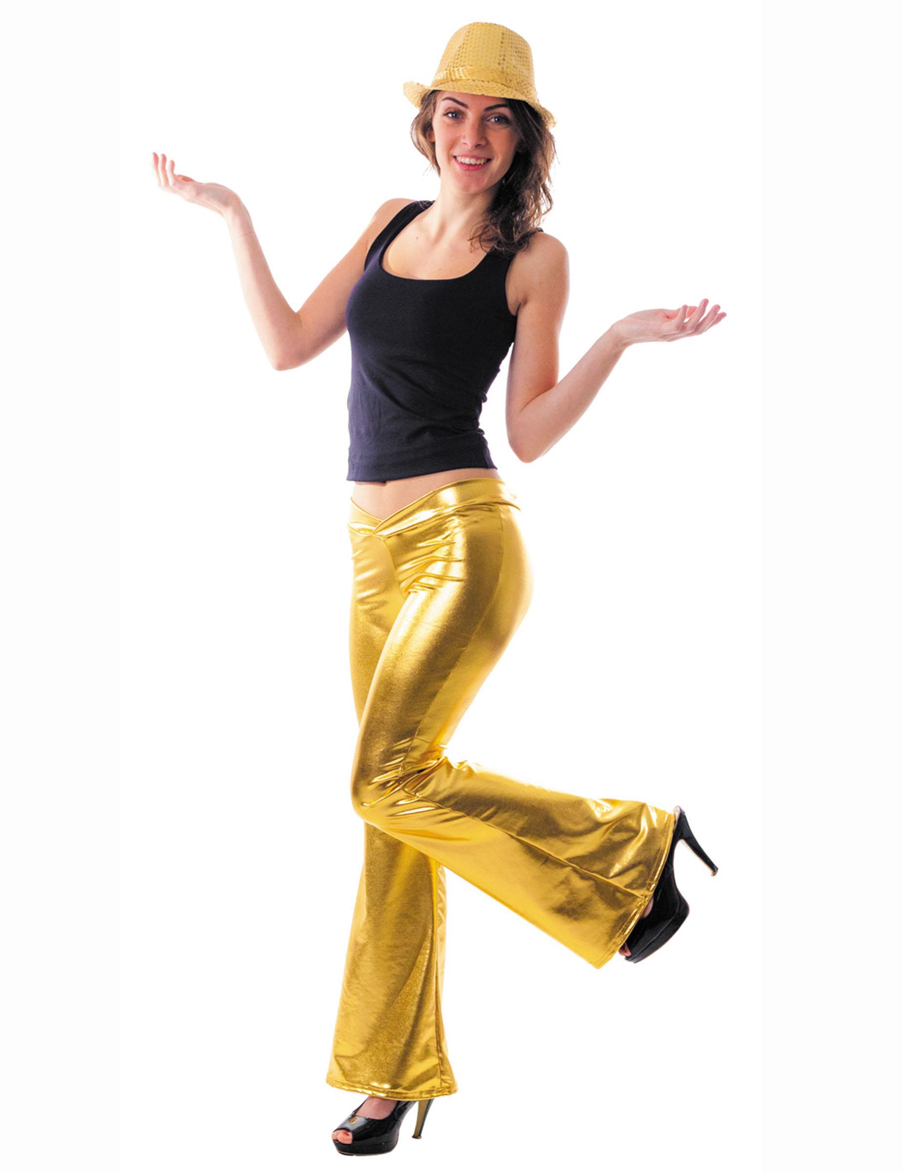 70er disco glitzer schlaghose damen gold g nstige faschings kost me bei karneval megastore. Black Bedroom Furniture Sets. Home Design Ideas