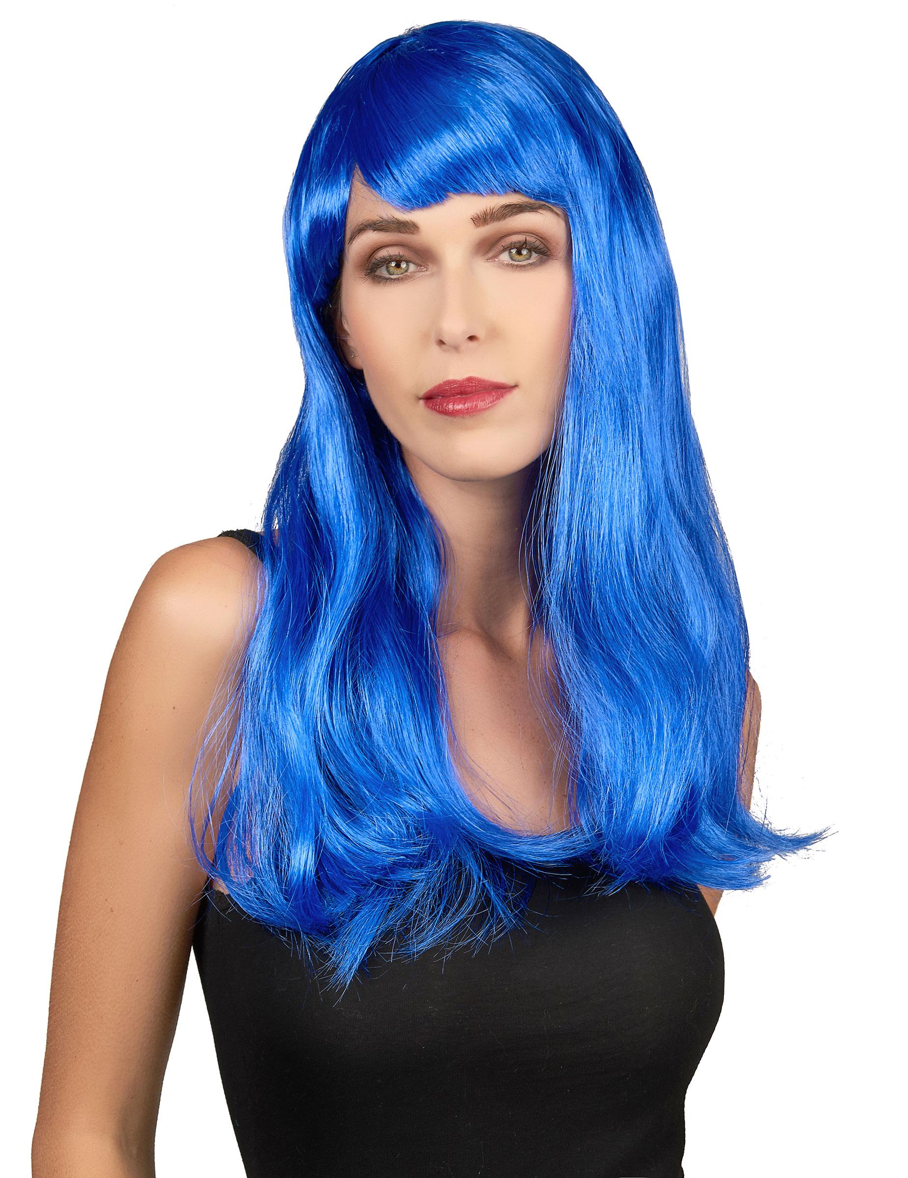 Gothic Vamp Perücke blau Damenperücke Damen Perücken Gothicperücke Karneval