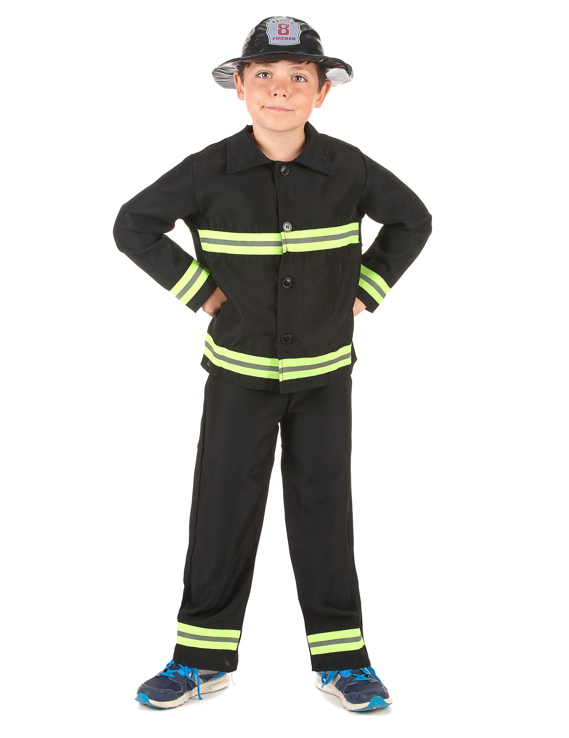 Feuerwehr Kinderkostum Kleiner Feuerwehrmann Schwarz Gelb Gunstige