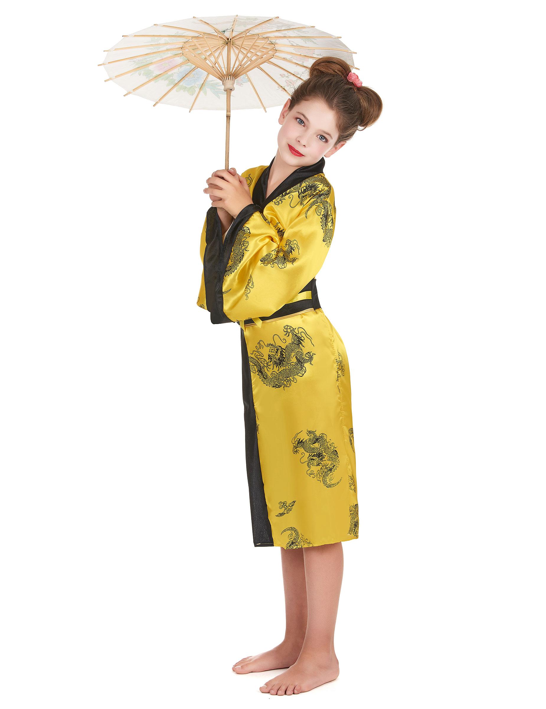 elegante chinesin kinderkost m asia gelb schwarz. Black Bedroom Furniture Sets. Home Design Ideas