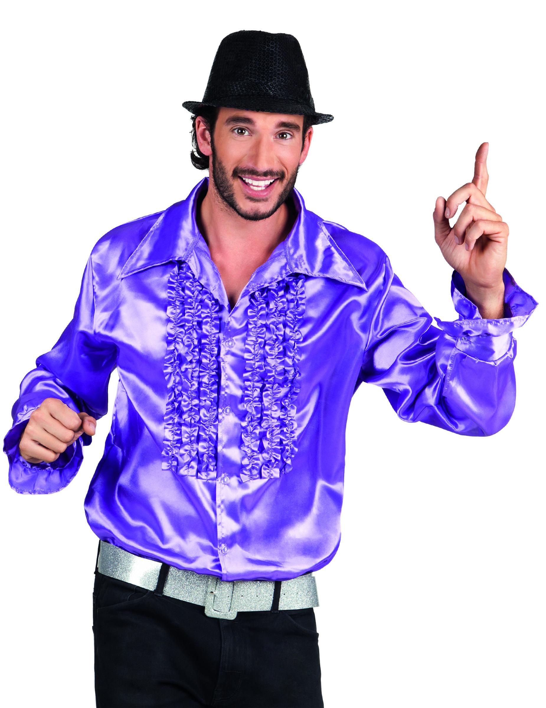 disco hemd mit r schen 70er jahre lila g nstige faschings kost me bei karneval megastore. Black Bedroom Furniture Sets. Home Design Ideas