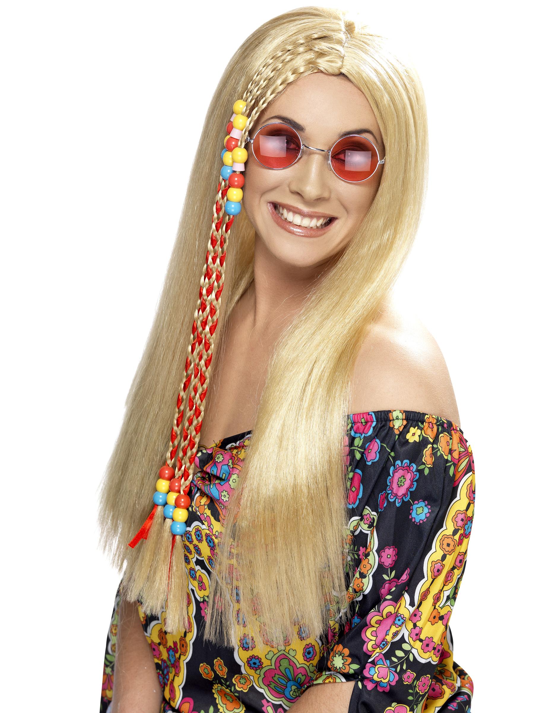 Karneval Fasching Perücke Haare Hippie Perücke mit Blumenband blond NEU