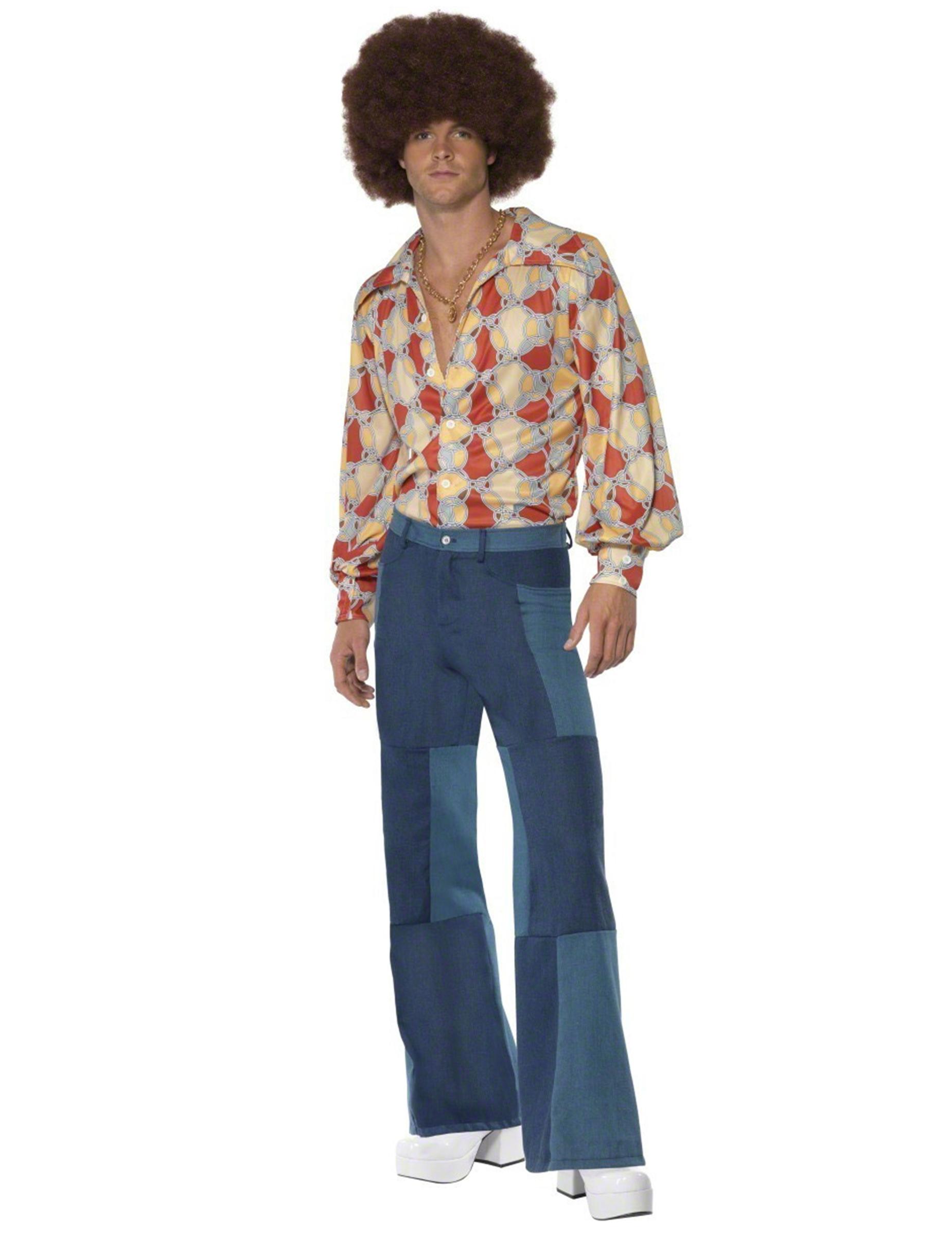 2020 neue Stile größte Auswahl von 2019 60er 70er Hippie Herren Schlaghose Patchwork blau