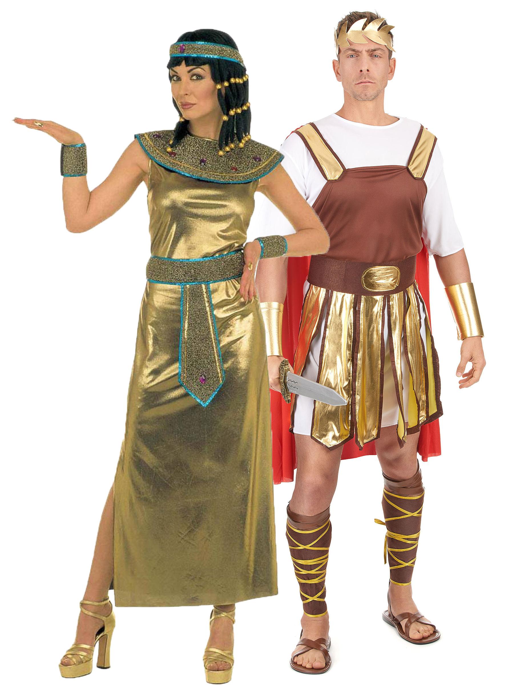 Kleopatra Und Caesar Paarkostum Fur Erwachsene In Gold Braun Und
