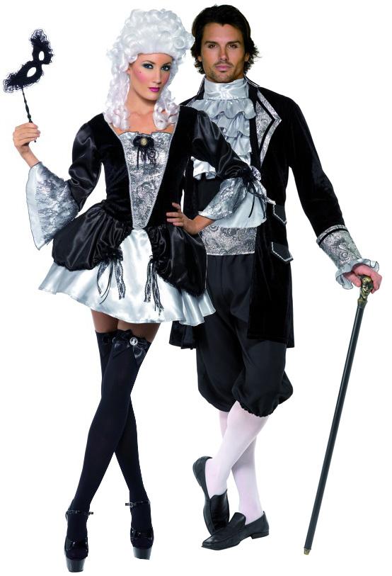halloween paar kostum vampir barock schwarz silberfarben