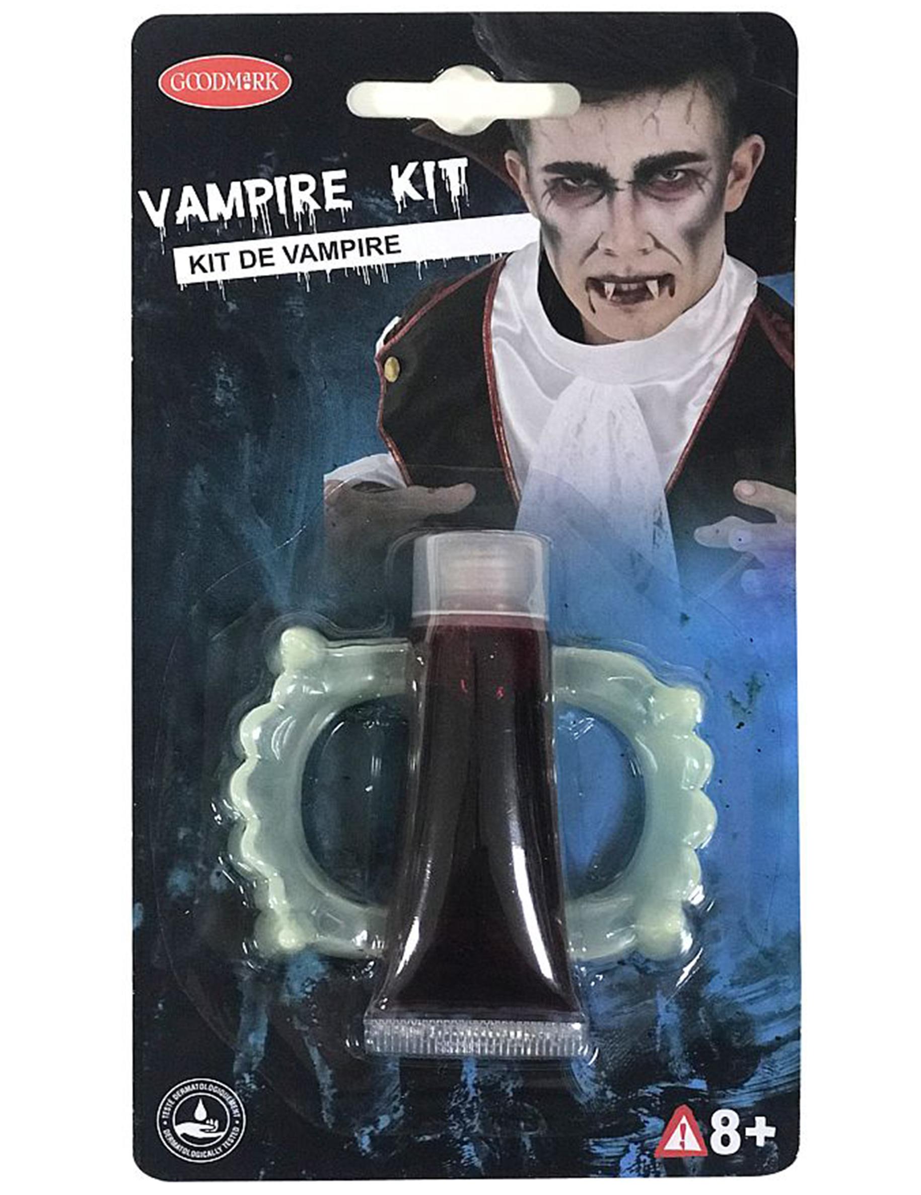 halloween vampir make up set gebiss und kunstblut weiss. Black Bedroom Furniture Sets. Home Design Ideas