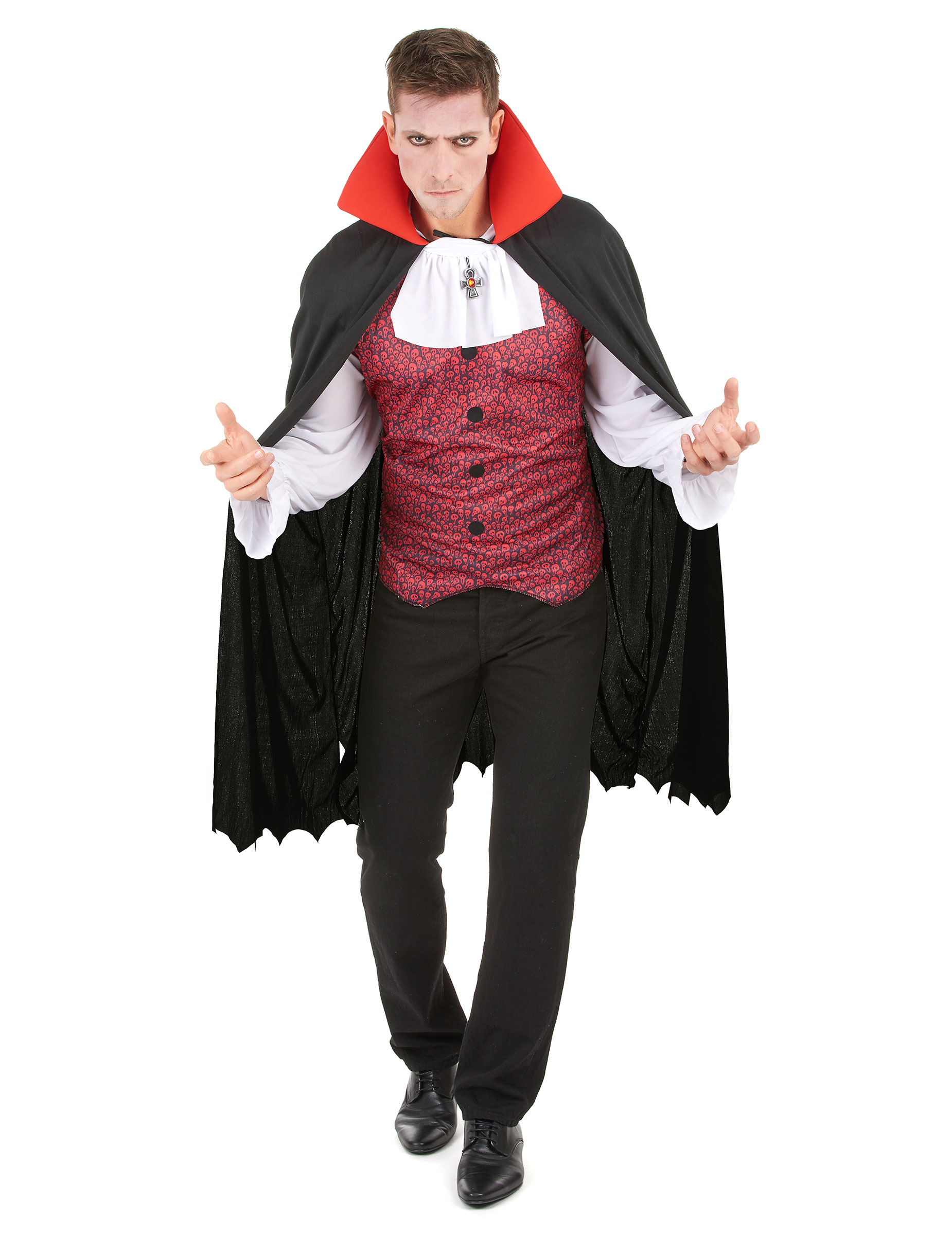 dracula vampirgraf halloween herrenkost m rot schwarz weiss g nstige faschings kost me bei. Black Bedroom Furniture Sets. Home Design Ideas