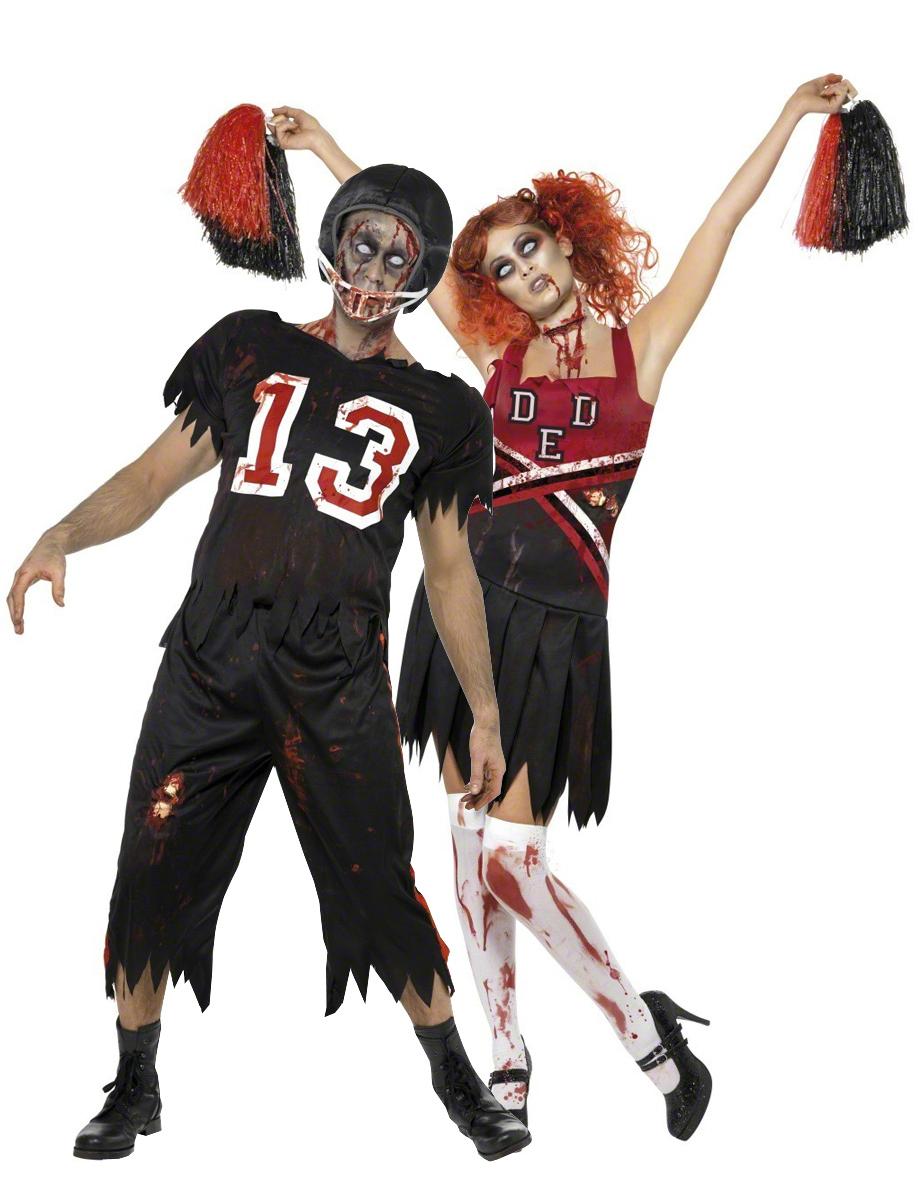 Zombie Footballspieler Und Zombie Cheerleader Paarkostum Fur