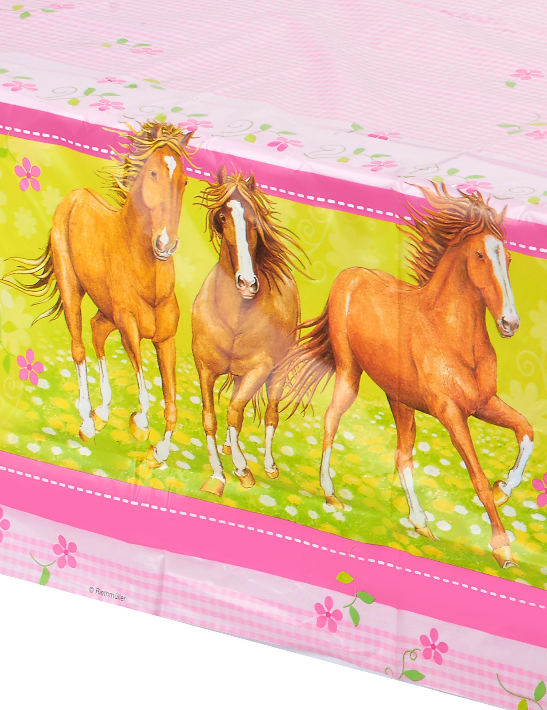 tischdecke pferde kindergeburtstag deko hellgr n rosa g nstige faschings partydeko zubeh r. Black Bedroom Furniture Sets. Home Design Ideas