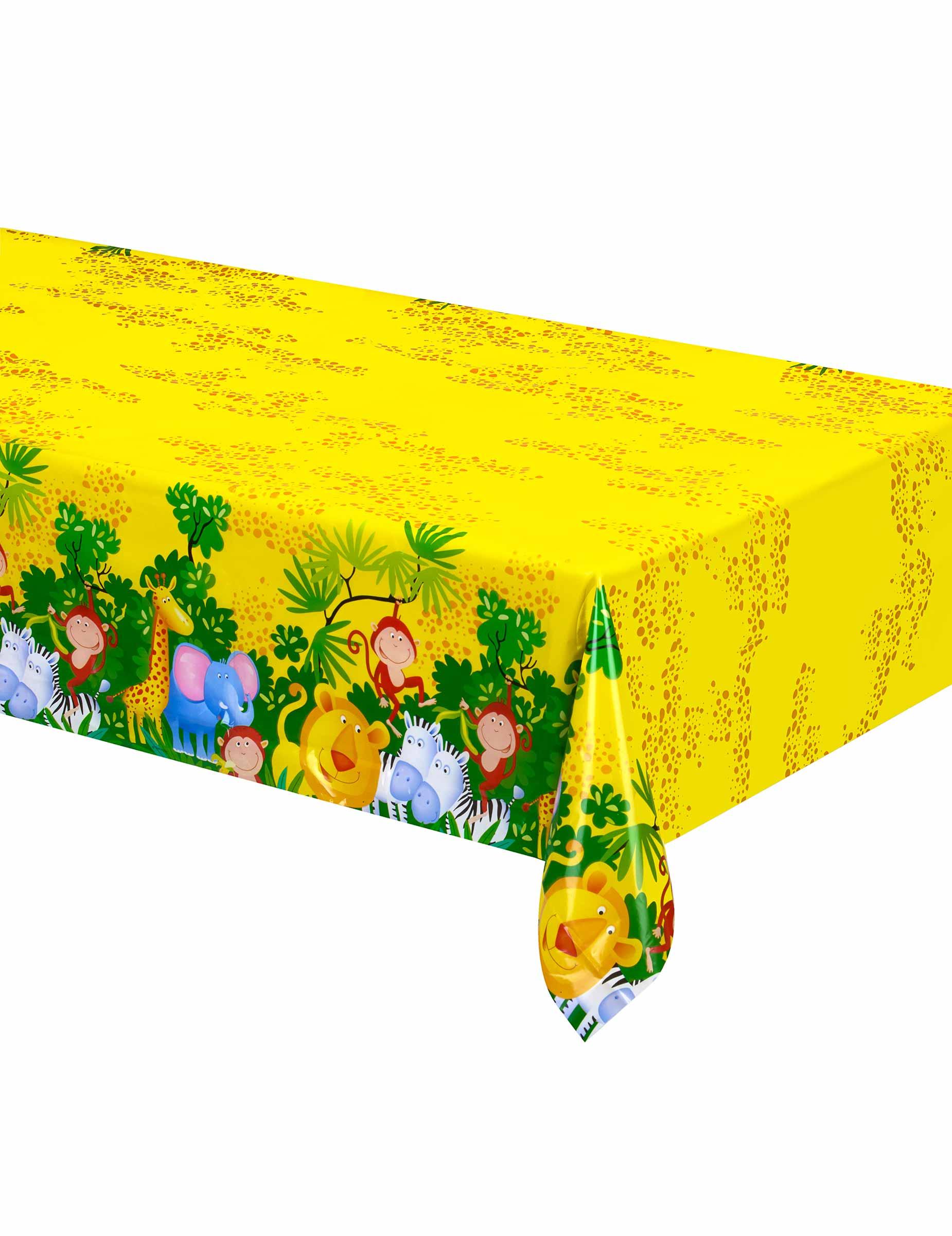 tischdecke safari kindergeburtstag deko bunt 130x180cm. Black Bedroom Furniture Sets. Home Design Ideas