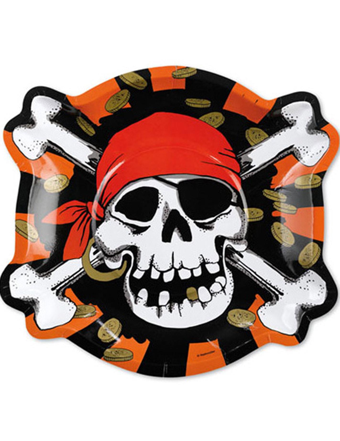 pappteller totenkopf skull piratenparty deko 6 st ck rot. Black Bedroom Furniture Sets. Home Design Ideas