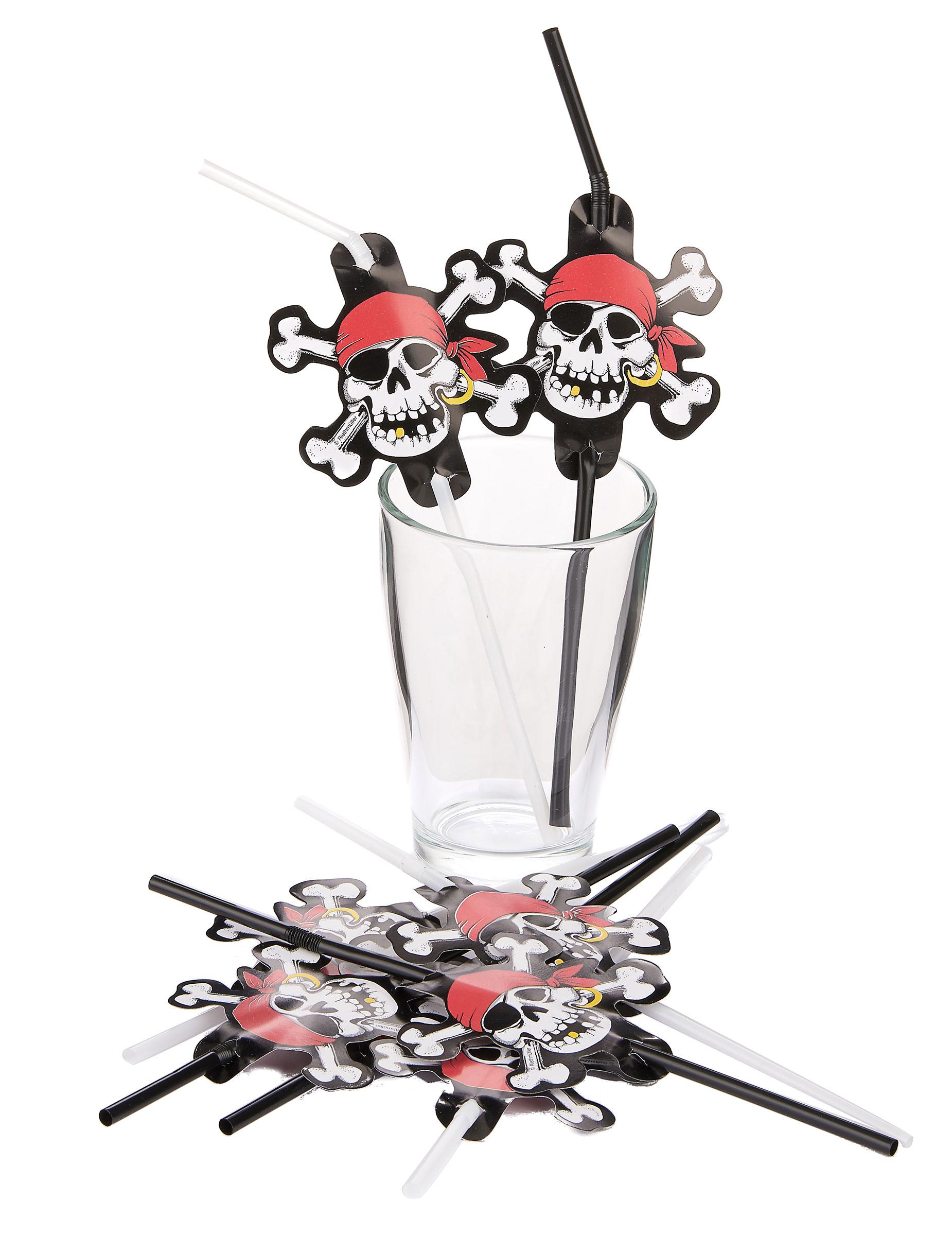 trinkhalme totenkopf skull piratenparty deko 8 st ck rot schwarz weiss 24cm g nstige faschings. Black Bedroom Furniture Sets. Home Design Ideas