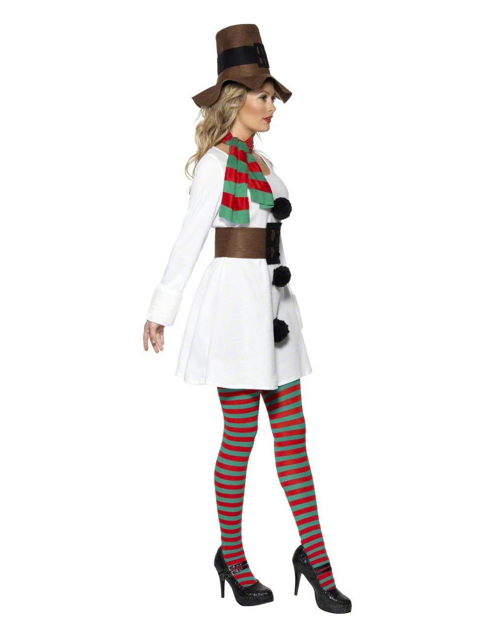 schneefrau damenkost m weihnachten weiss braun g nstige. Black Bedroom Furniture Sets. Home Design Ideas