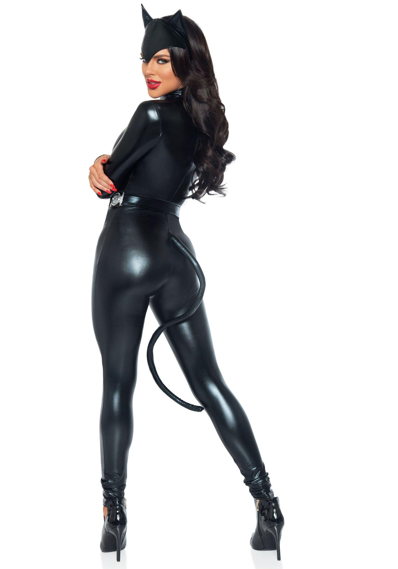 Sexy Katze Damenkostüm Catsuit schwarz , günstige