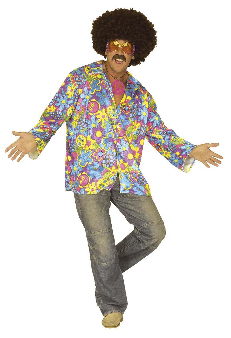 hippie hemd blau gelb lila g nstige faschings kost me bei karneval megastore. Black Bedroom Furniture Sets. Home Design Ideas