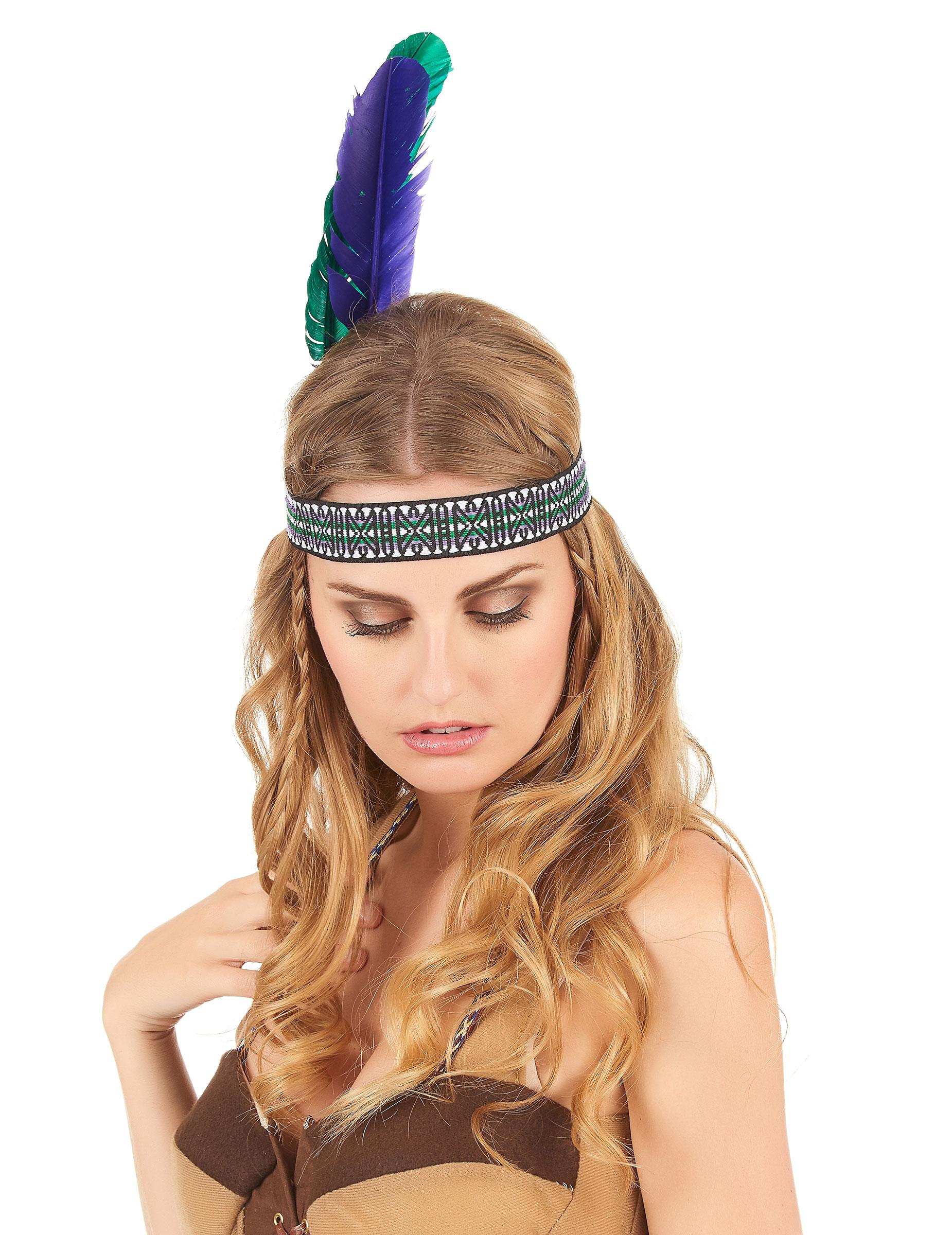 indianer kopfschmuck haarband federn gr n lila g nstige faschings accessoires zubeh r bei. Black Bedroom Furniture Sets. Home Design Ideas