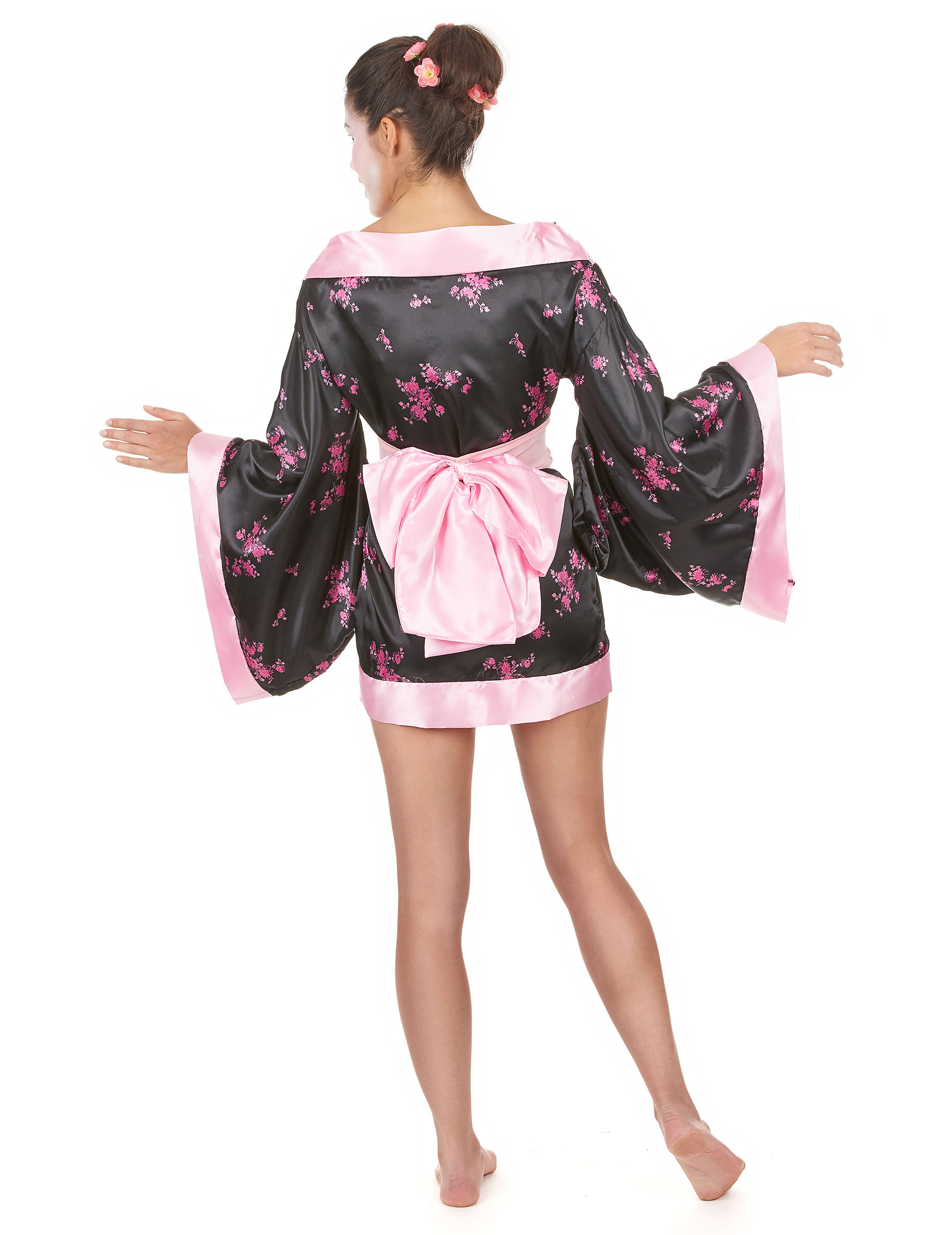edles geisha damen kost m schwarz rosa g nstige faschings kost me bei karneval megastore. Black Bedroom Furniture Sets. Home Design Ideas
