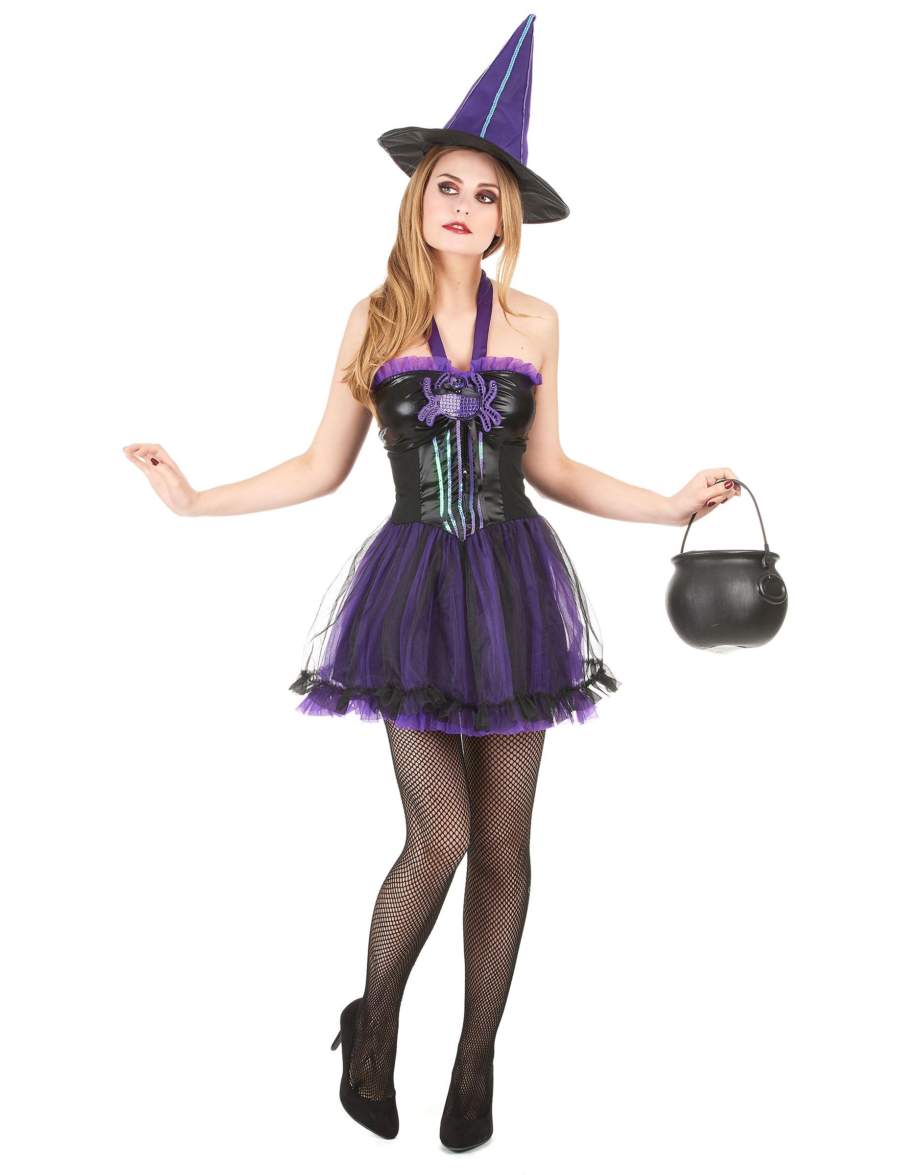 sexy damenkost m hexe halloween schwarz lila g nstige faschings kost me bei karneval megastore. Black Bedroom Furniture Sets. Home Design Ideas