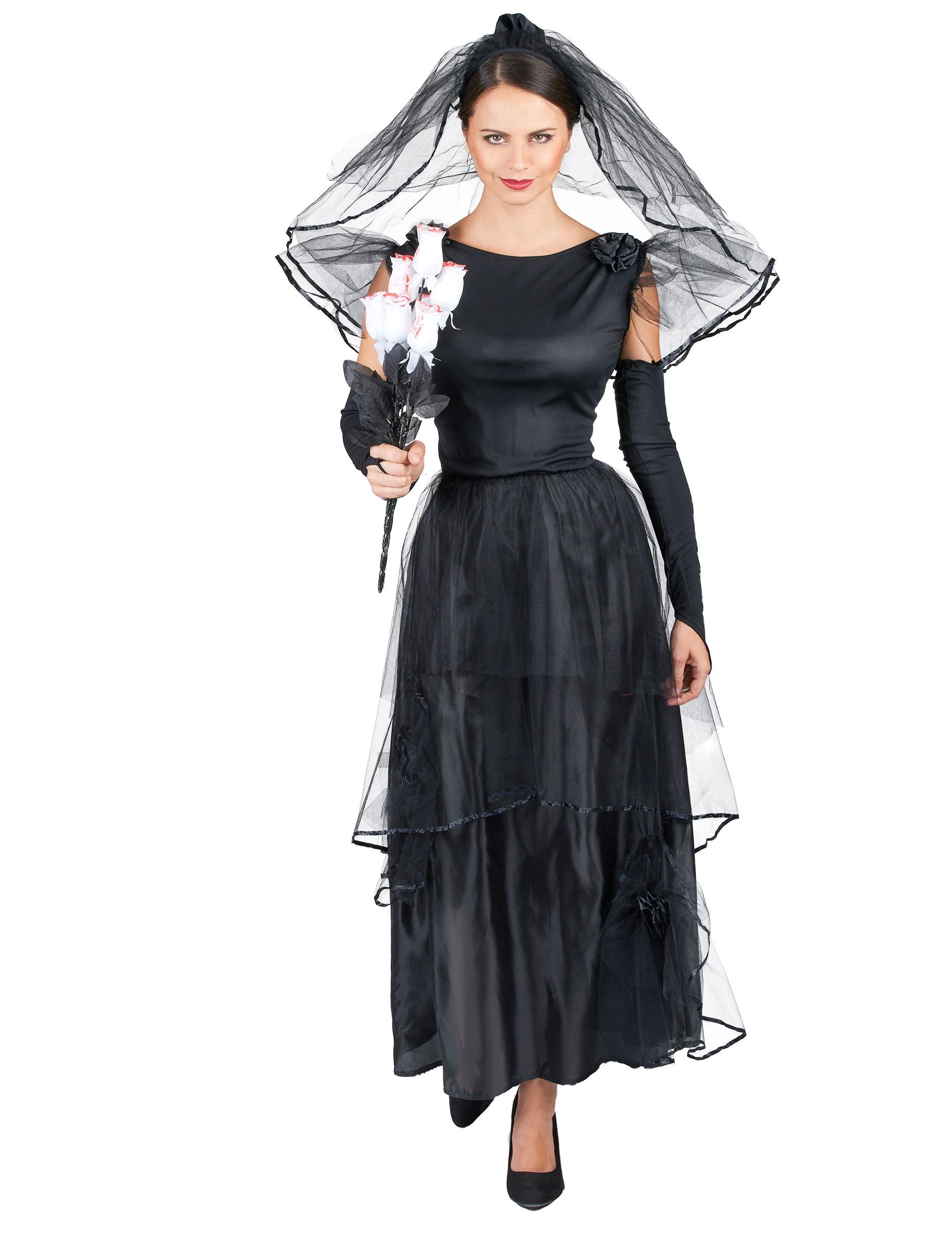Dunkle Braut Halloween-Kostüm schwarz