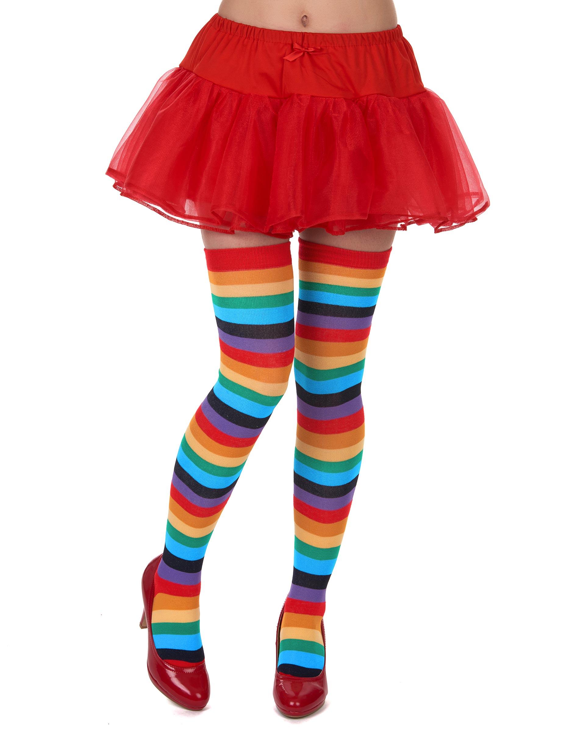 9edfb76680f5f Clown Damen Strümpfe Overknees bunt gestreift
