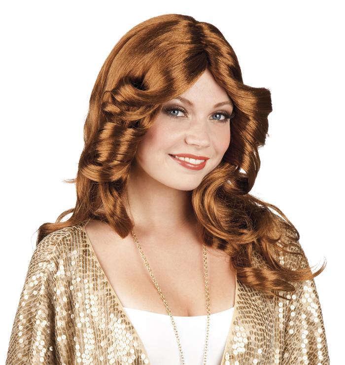 Edle Disco Damenperucke 70er Frisur Rotbraun Gunstige Faschings