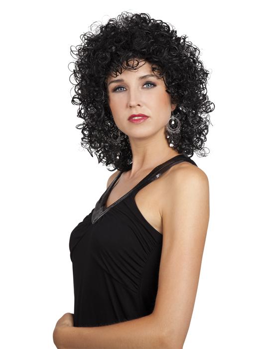 geringster Preis Entdecken Sie die neuesten Trends bieten eine große Auswahl an 80er-Jahre Minipli Perücke schwarz