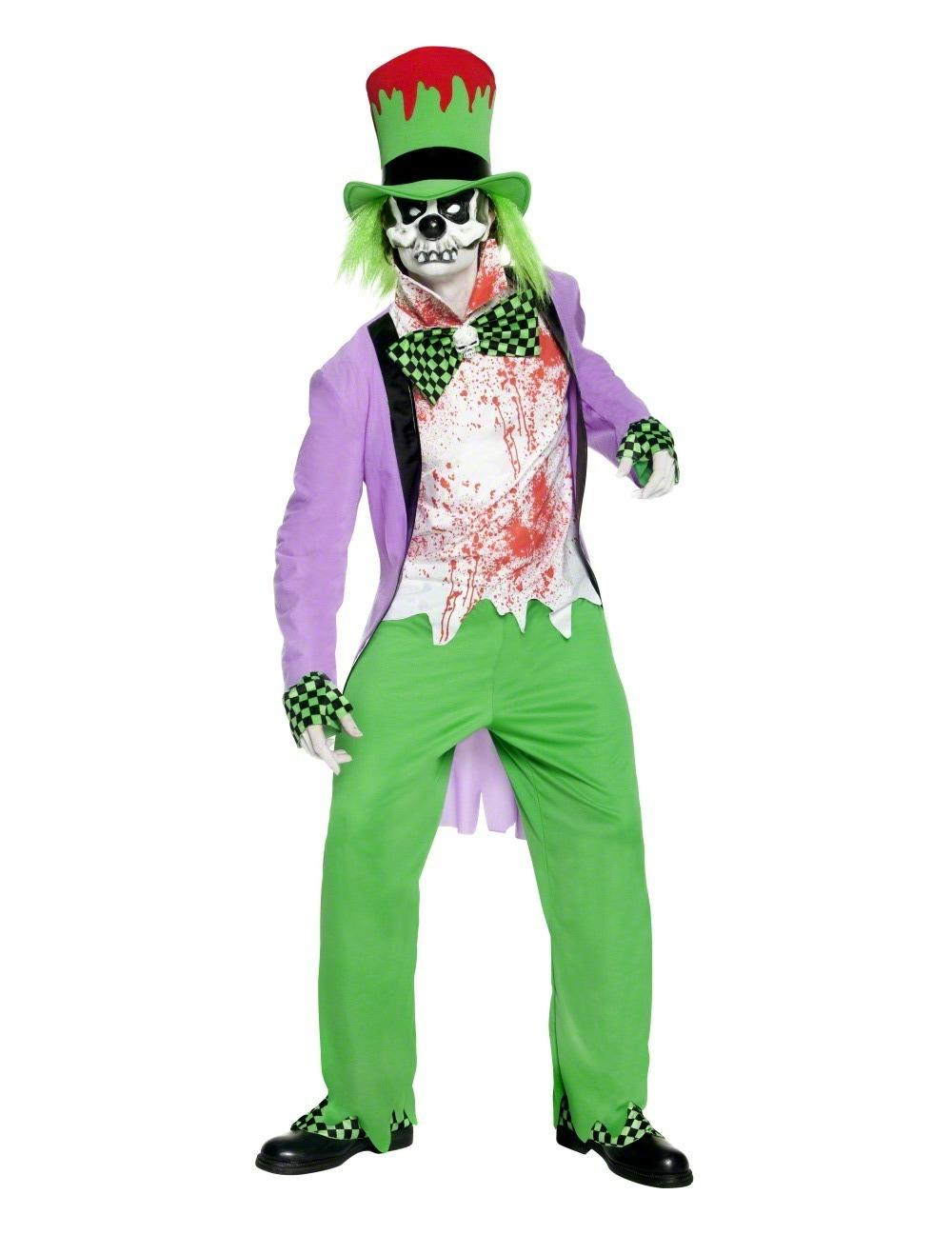blutverschmierter böser horror-clown skelett halloween kostüm grün