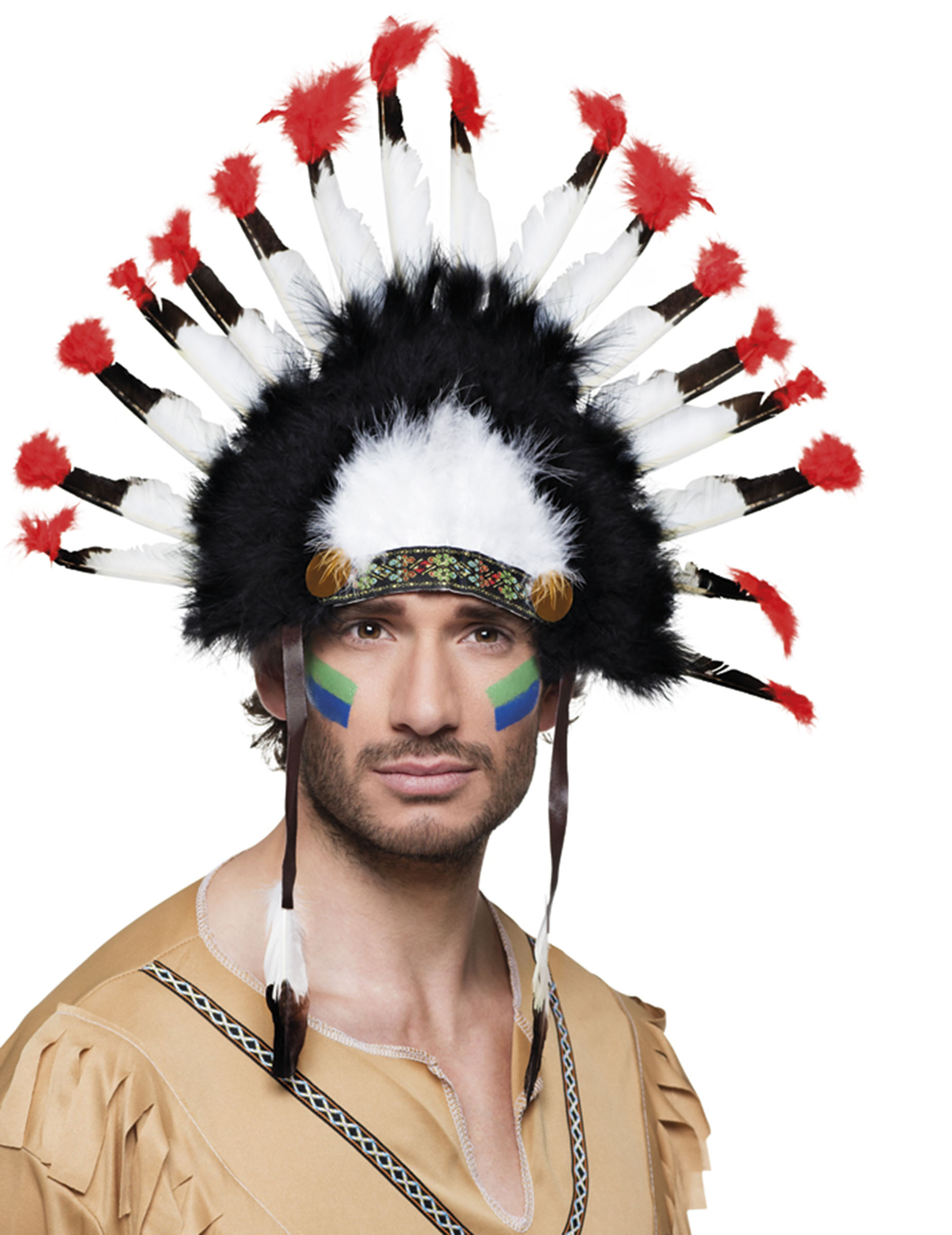 indianer kopfschmuck federn bunt g nstige faschings accessoires zubeh r bei karneval megastore. Black Bedroom Furniture Sets. Home Design Ideas