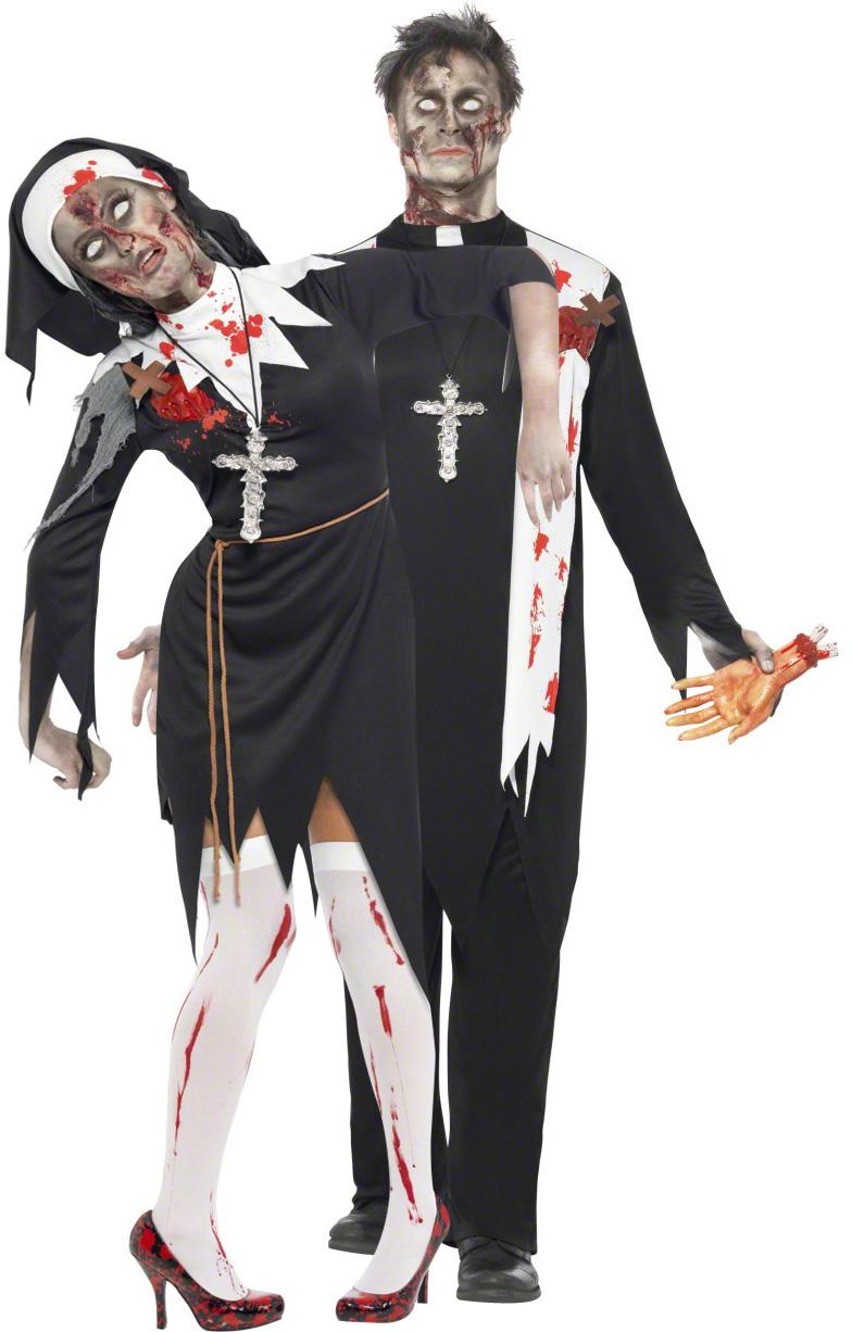Zombie Paarkostum Nonne Und Priester Halloween Schwarz Gunstige