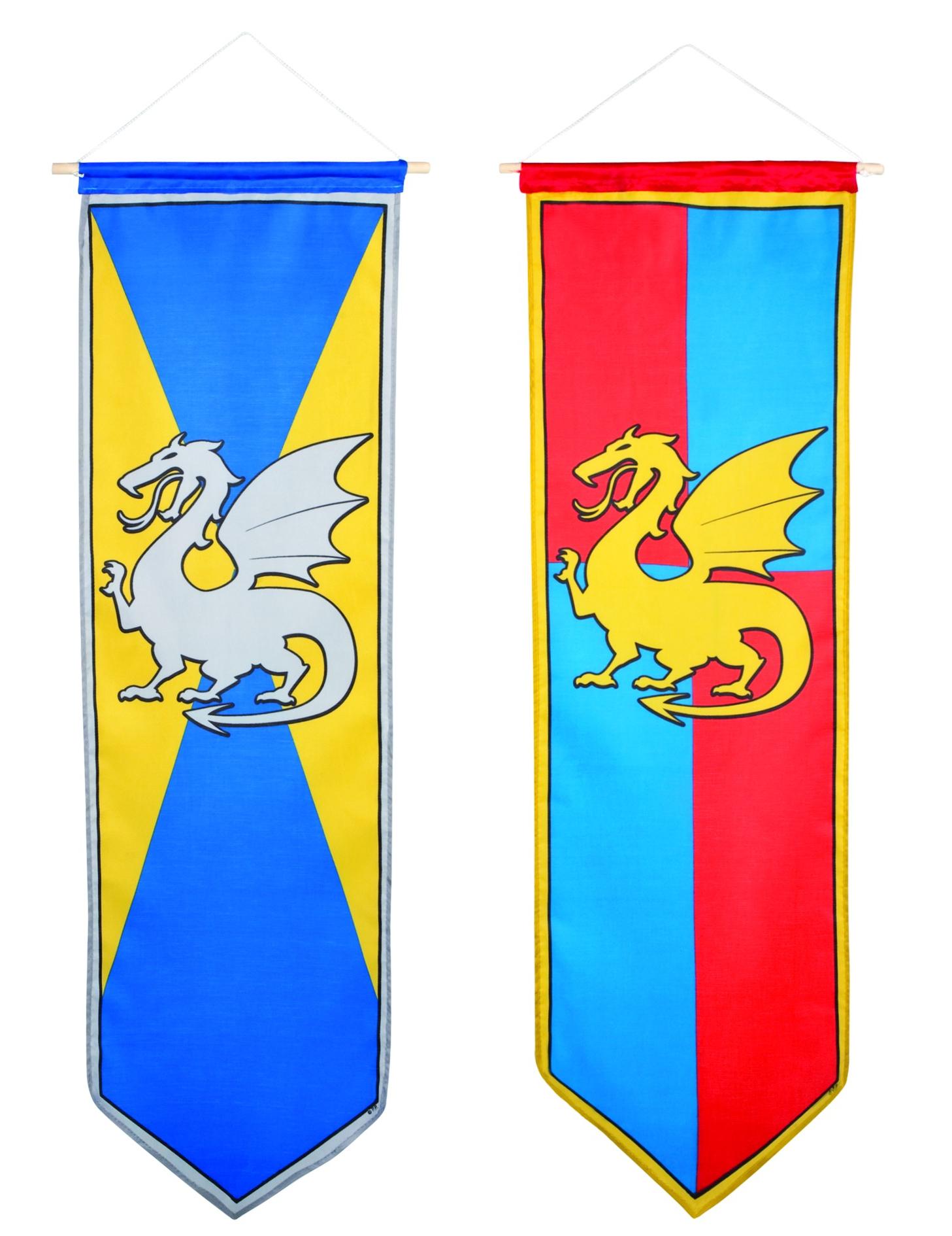 mittelalterliches ritter banner drachen wappen rot blau gelb 100x30cm g nstige faschings. Black Bedroom Furniture Sets. Home Design Ideas