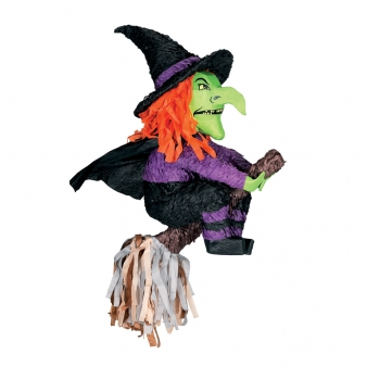 pinata halloween party spiel und deko hexe auf besen gr n lila schwarz 60cm g nstige faschings. Black Bedroom Furniture Sets. Home Design Ideas