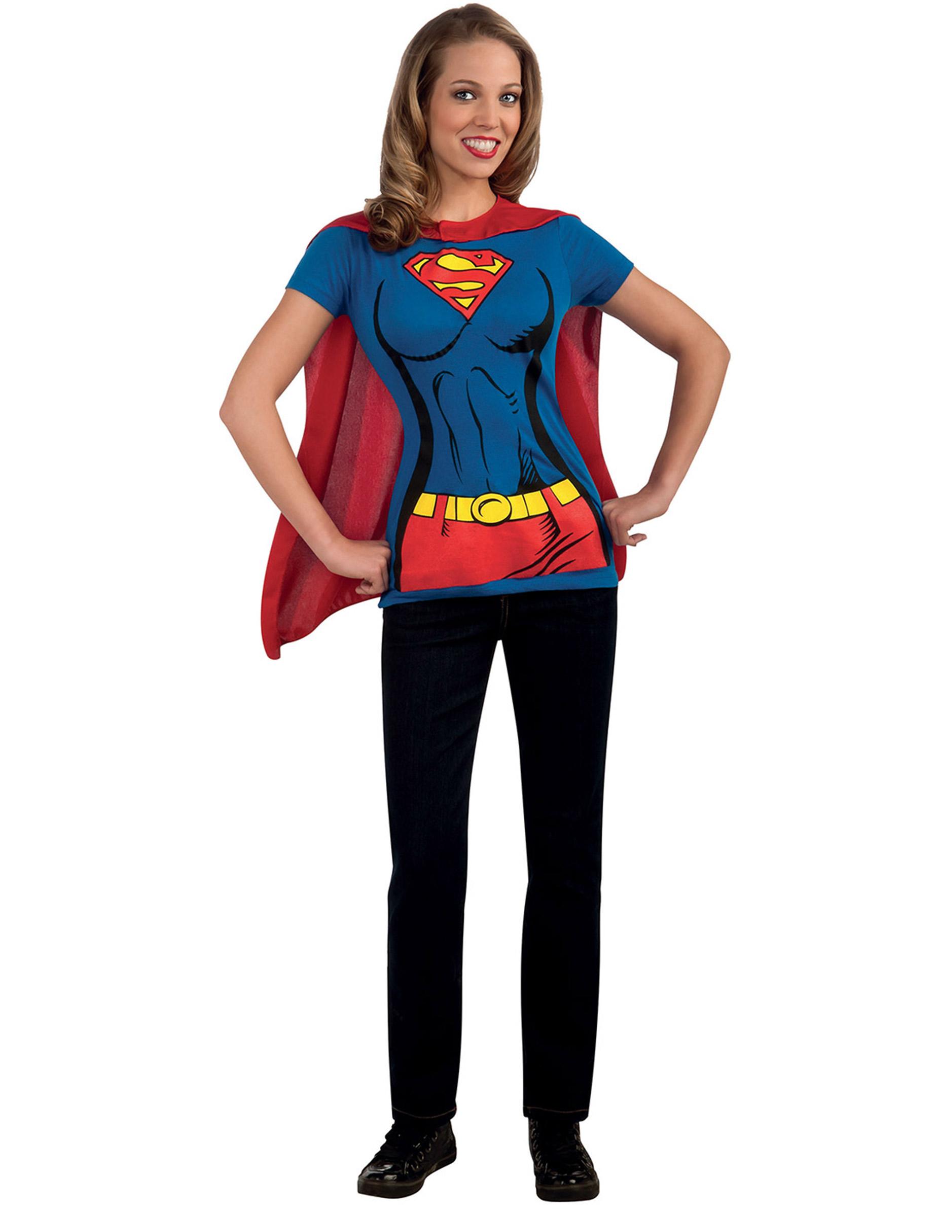 t shirt supergirl f r damen g nstige faschings kost me. Black Bedroom Furniture Sets. Home Design Ideas
