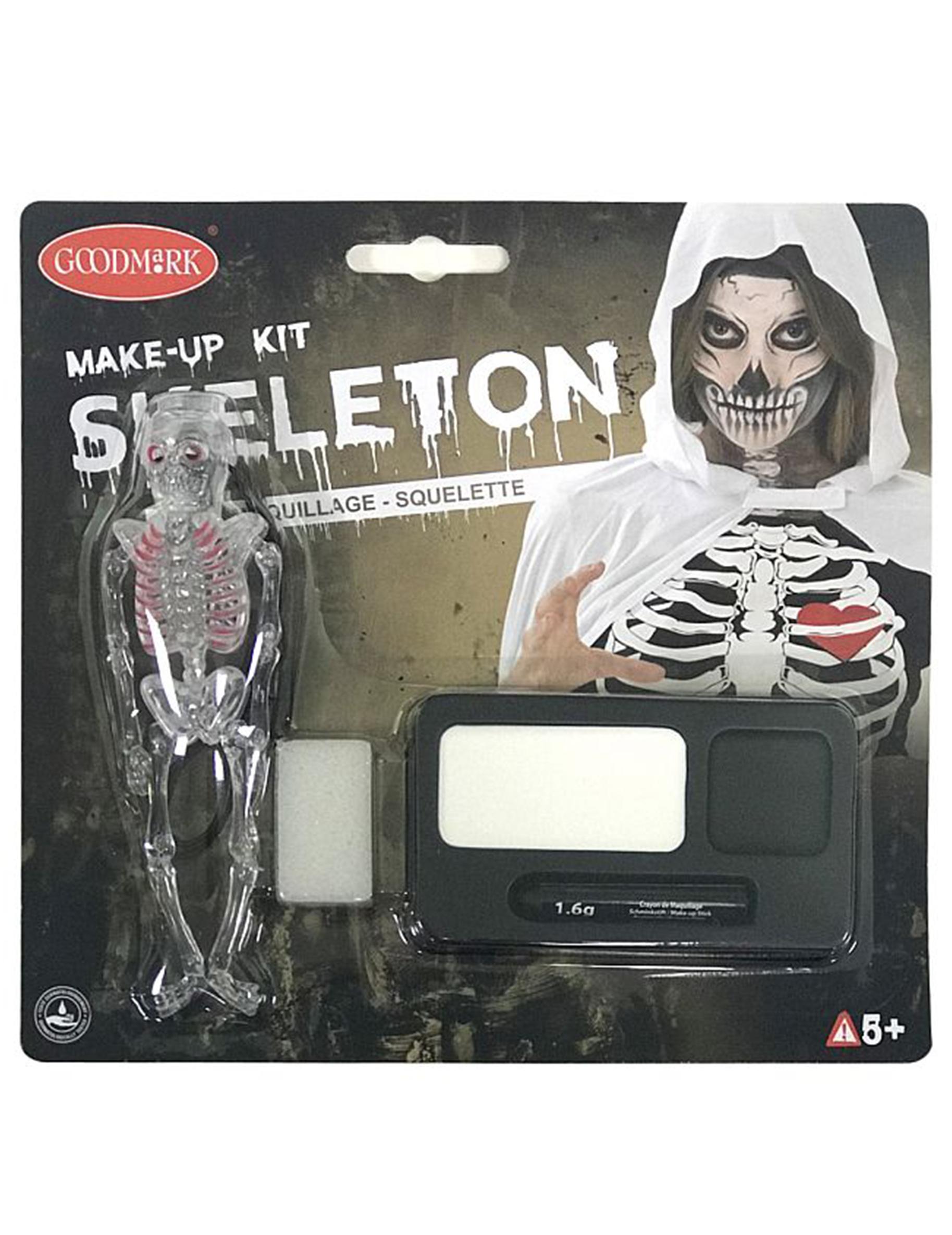 skelett make up schminke f r kinder schwarz weiss g nstige faschings make up bei karneval. Black Bedroom Furniture Sets. Home Design Ideas