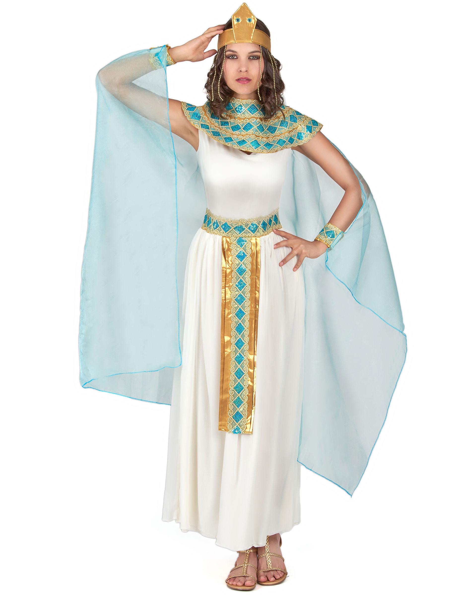 Cleopatra Damenkostum Agypterin Creme Hellblau Gold Gunstige