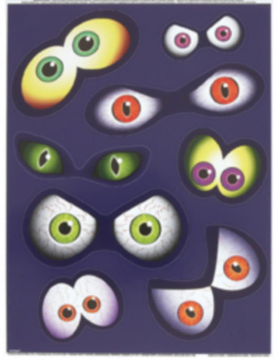 Halloween-Sticker Augen Fensterdeko 8 Stück bunt