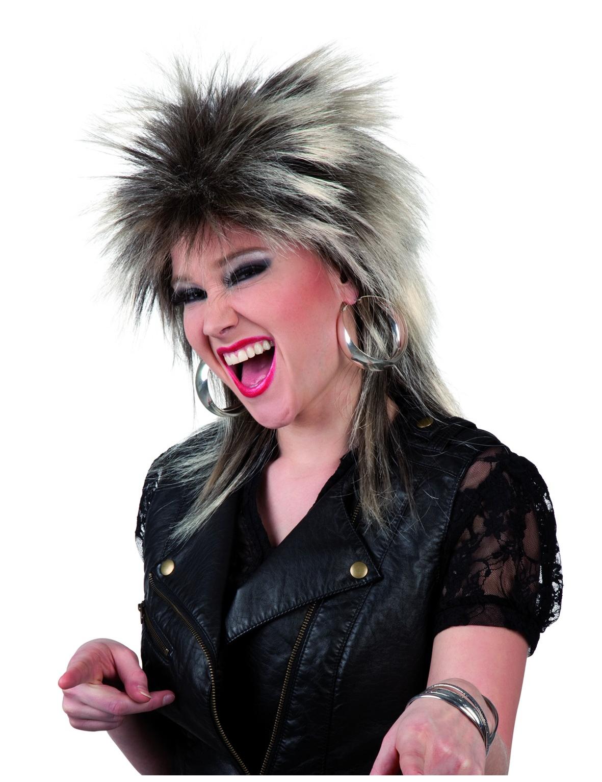 80er Jahre Rockerin Perucke Blond Braun Gunstige Faschings