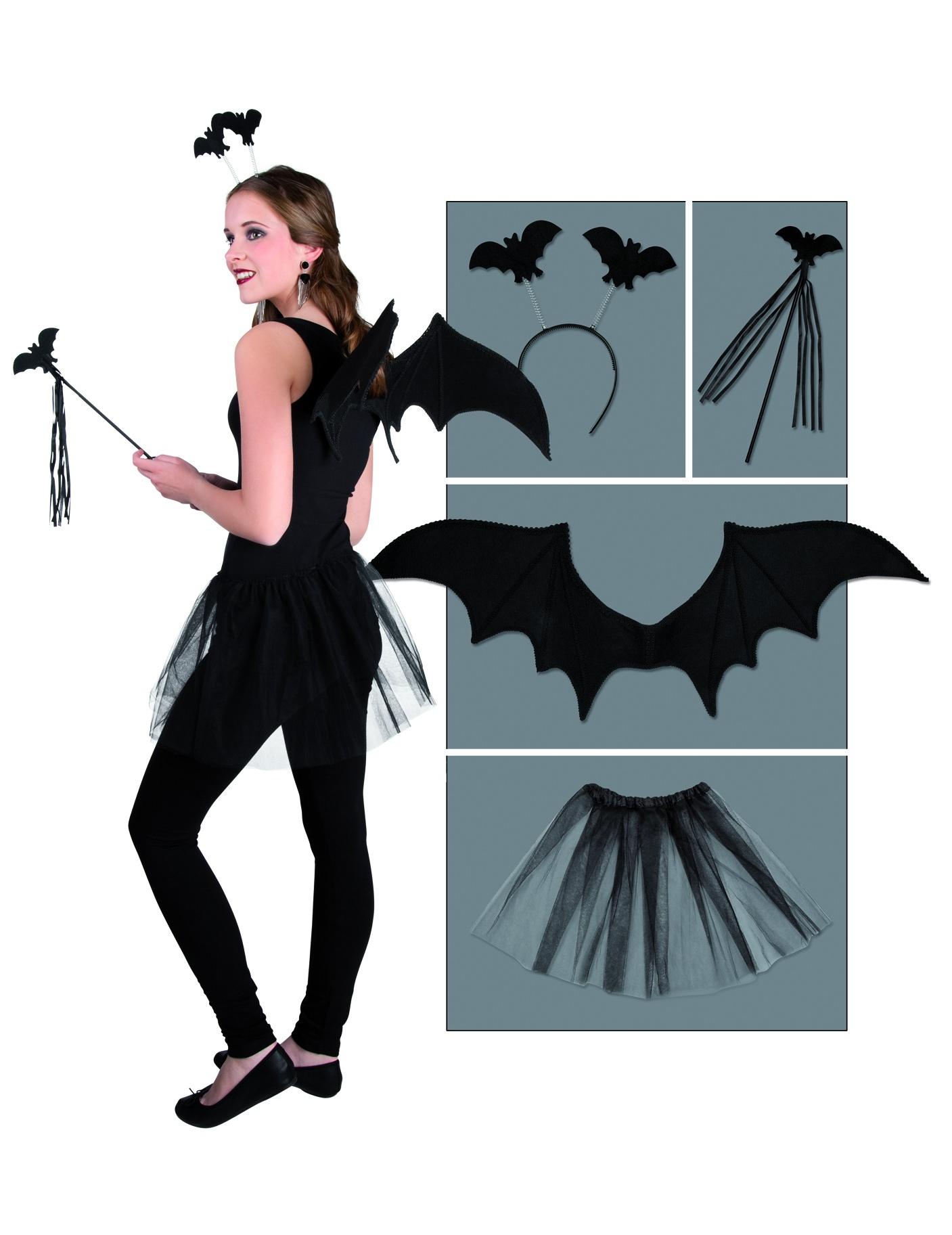 Süsses Fledermaus Kostüm Set Halloween 4 Teilig Schwarz Günstige