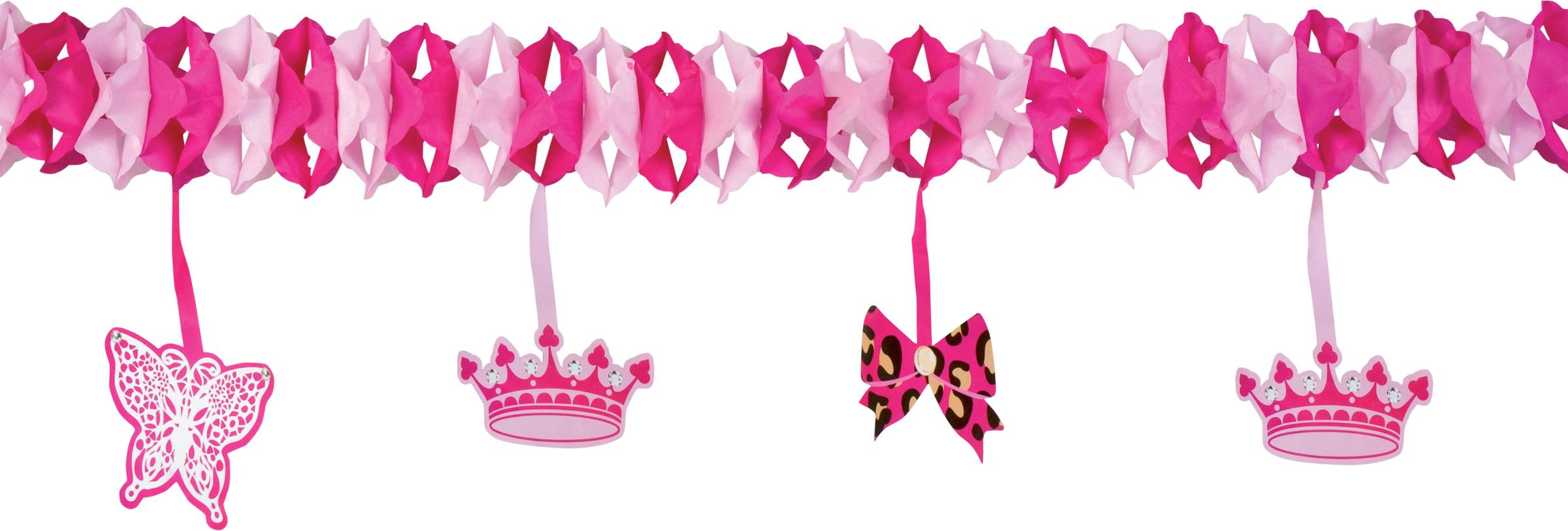 prinzessinnen girlande party deko rosa pink 4m g nstige faschings partydeko zubeh r bei. Black Bedroom Furniture Sets. Home Design Ideas