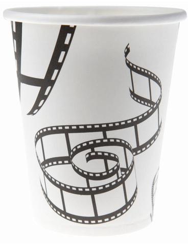 filmband becher hollywoodparty deko 10 st ck weiss schwarz 7 5x9cm g nstige faschings. Black Bedroom Furniture Sets. Home Design Ideas