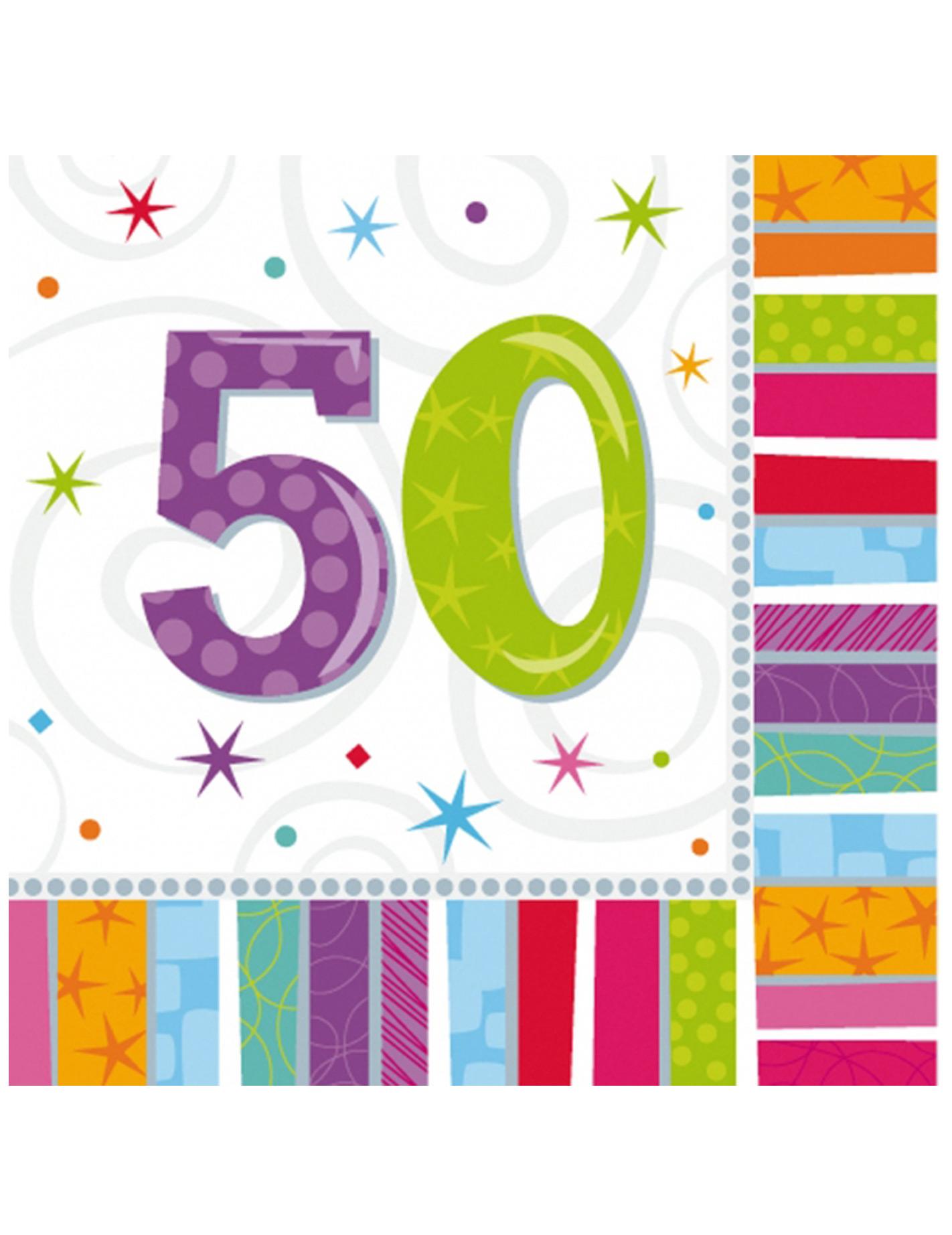 50 geburtstag servietten party deko 20 st ck bunt 33x33cm for Deko geburtstag 50