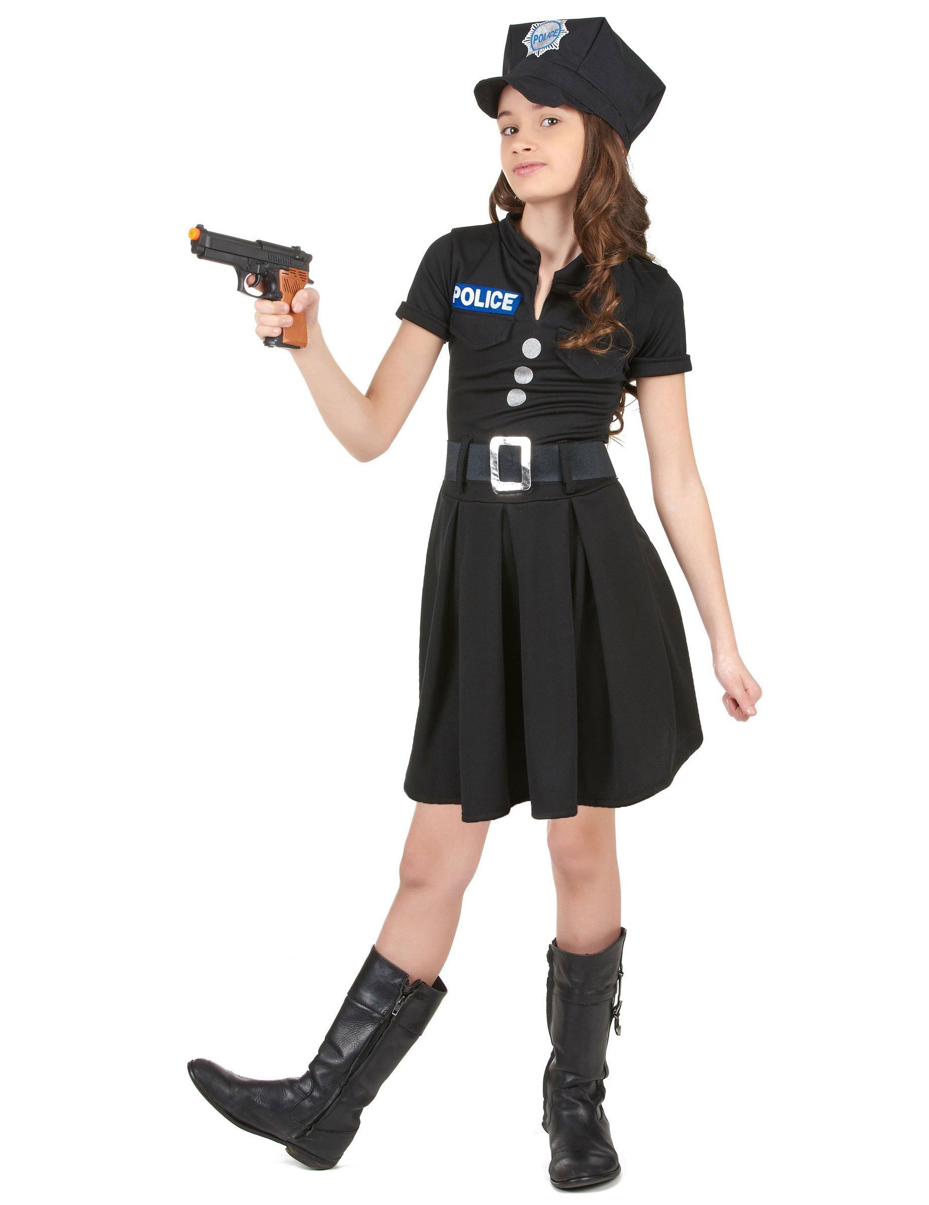 Kleine Polizistin Kinderkostum Politesse Schwarz Silber Gunstige