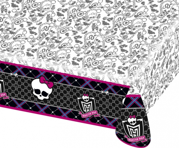 tischdecke monster high kindergeburtstag deko lizenzware schwarz weiss 130x180cm g nstige. Black Bedroom Furniture Sets. Home Design Ideas